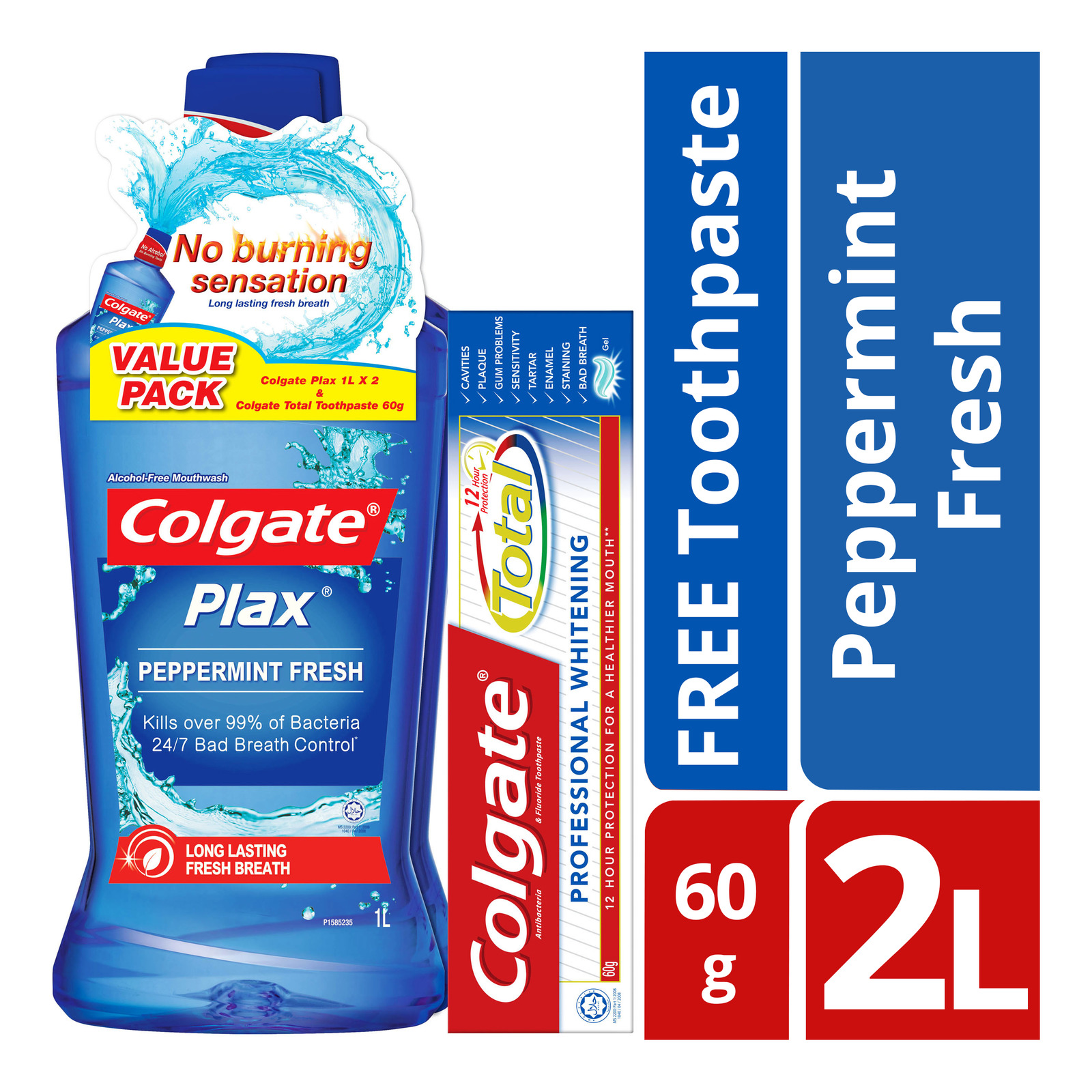 Colgate Plax Mouthwash - Peppermint Fresh + Free 60gToothpaste