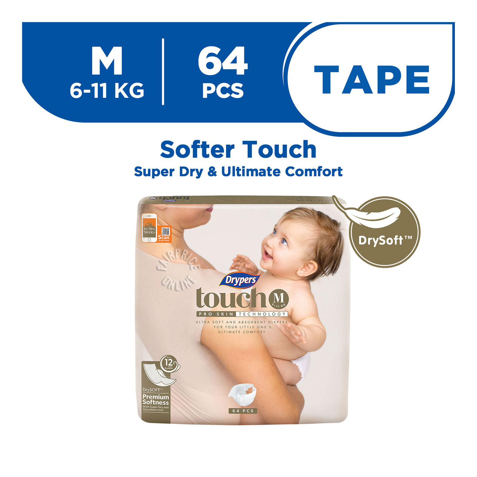 Drypers Touch Diapers - M (6 - 11kg)
