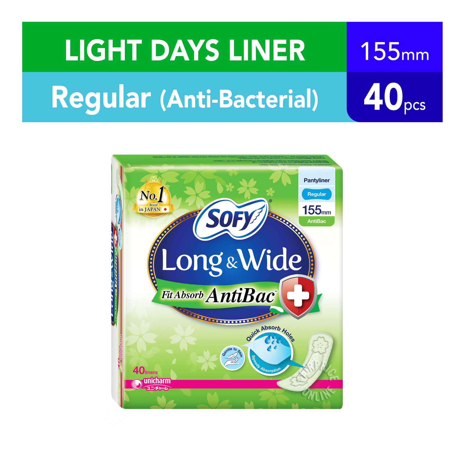 Sofy Long & Wide Pantyliners - Fit Absorb (Anti Bacterial)