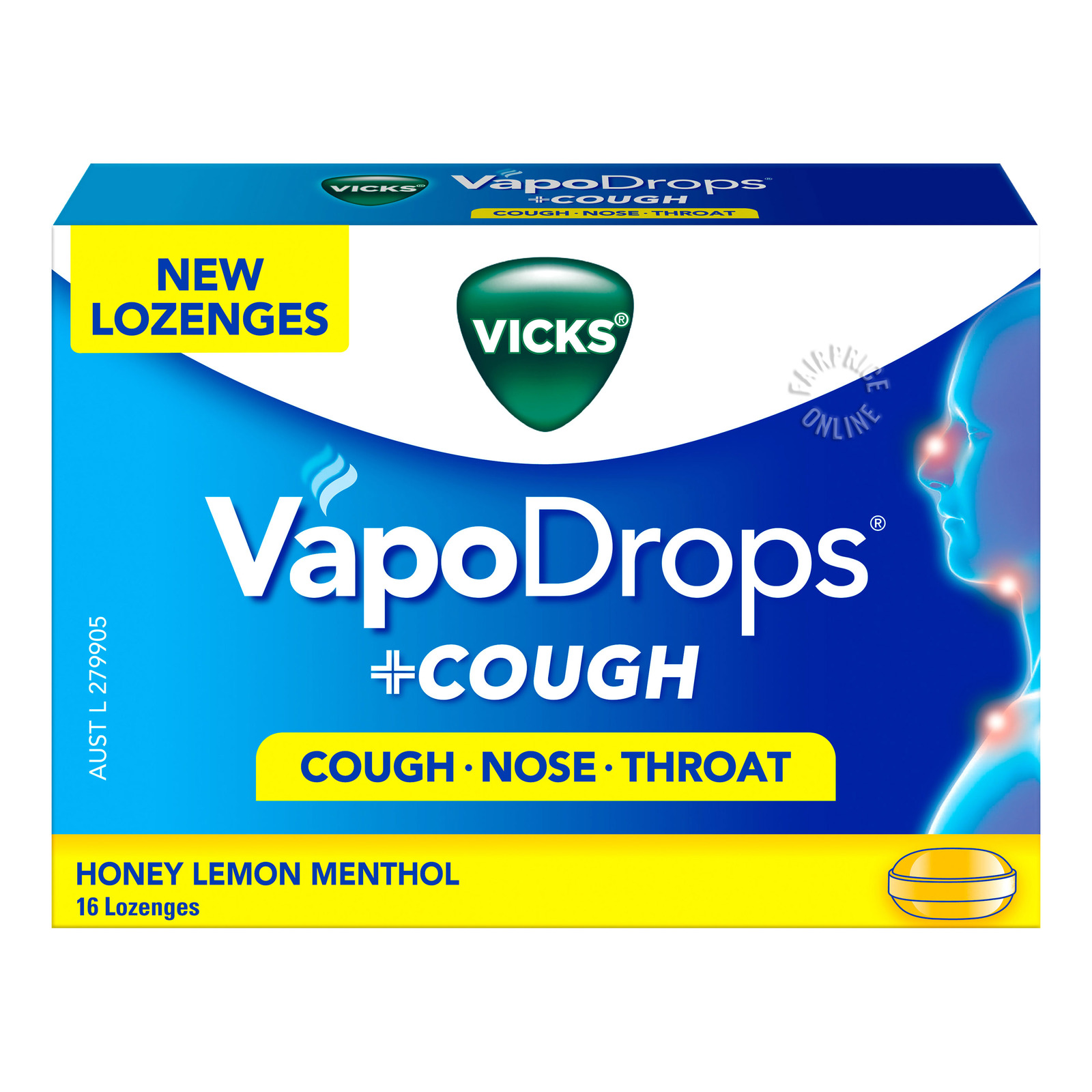 Vicks VapoDrops + Cough Menthol Lozenges - Honey Lemon