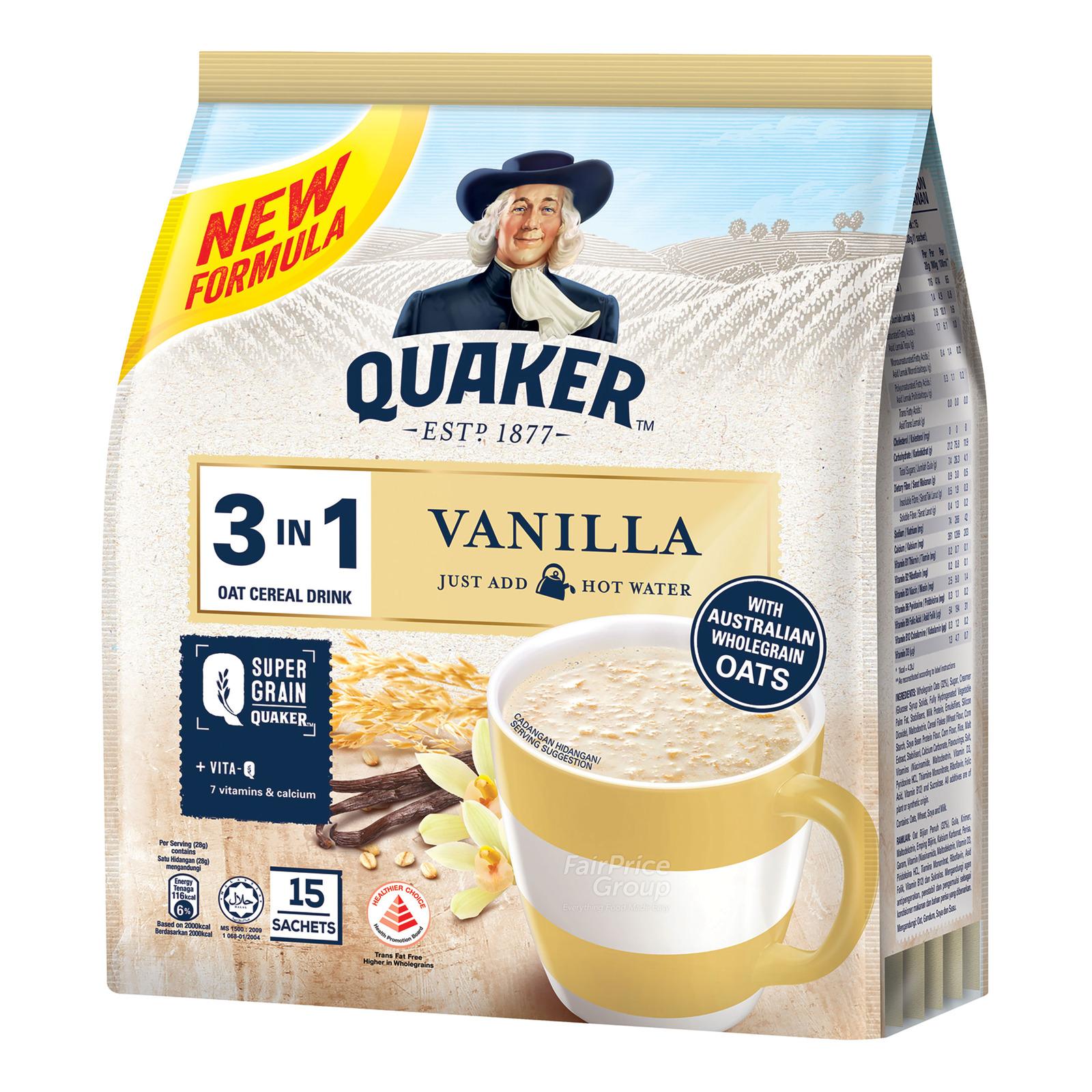 Quaker 3 in 1 Instant Oat Cereal Drink - Vanilla