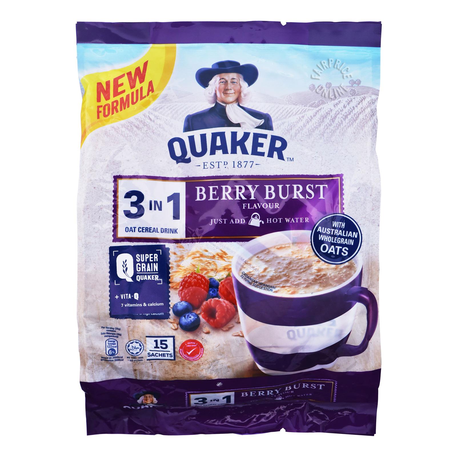 Quaker 3 in 1 Instant Oat Cereal Drink - Berry Burst