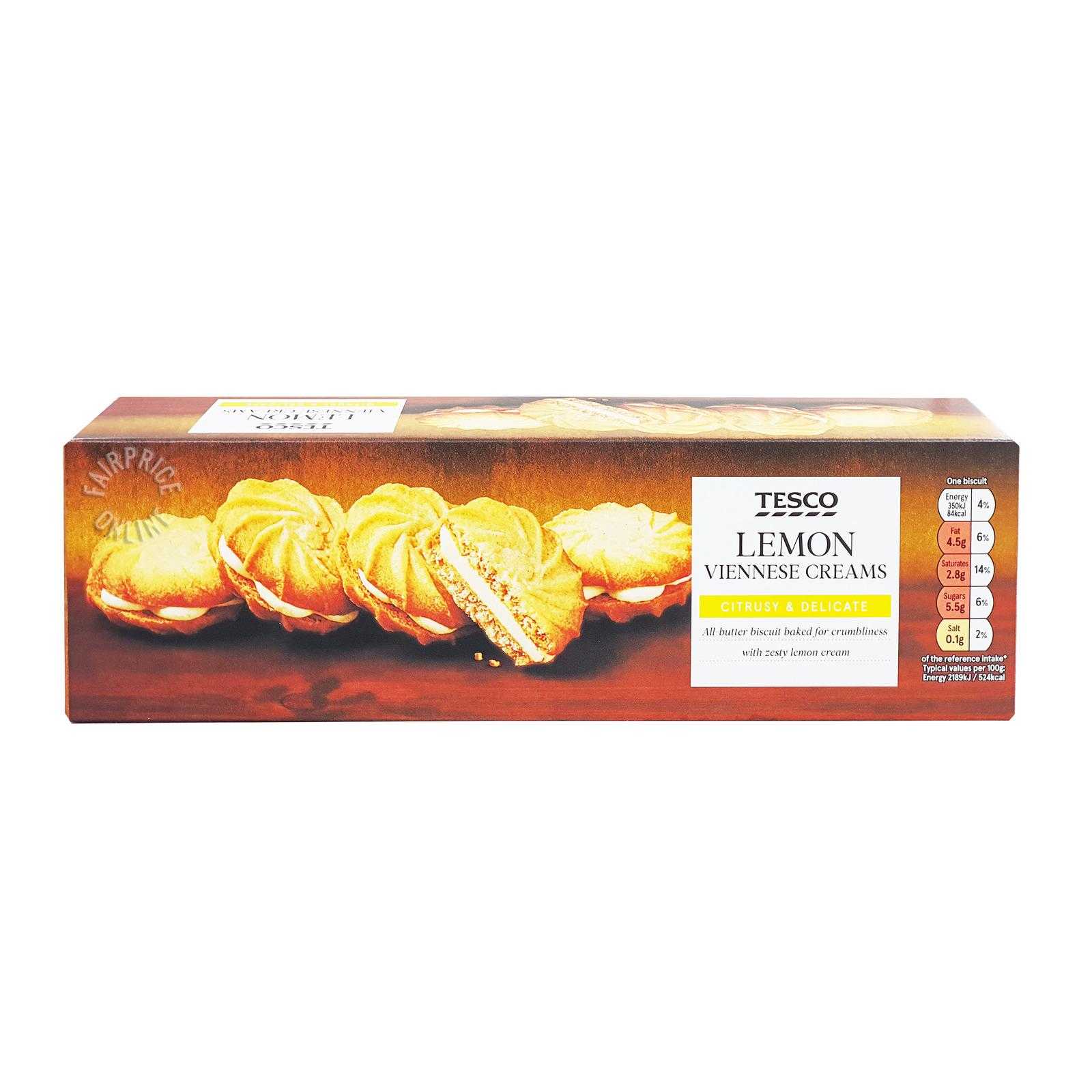Tesco Viennese Creams Biscuits - Lemon
