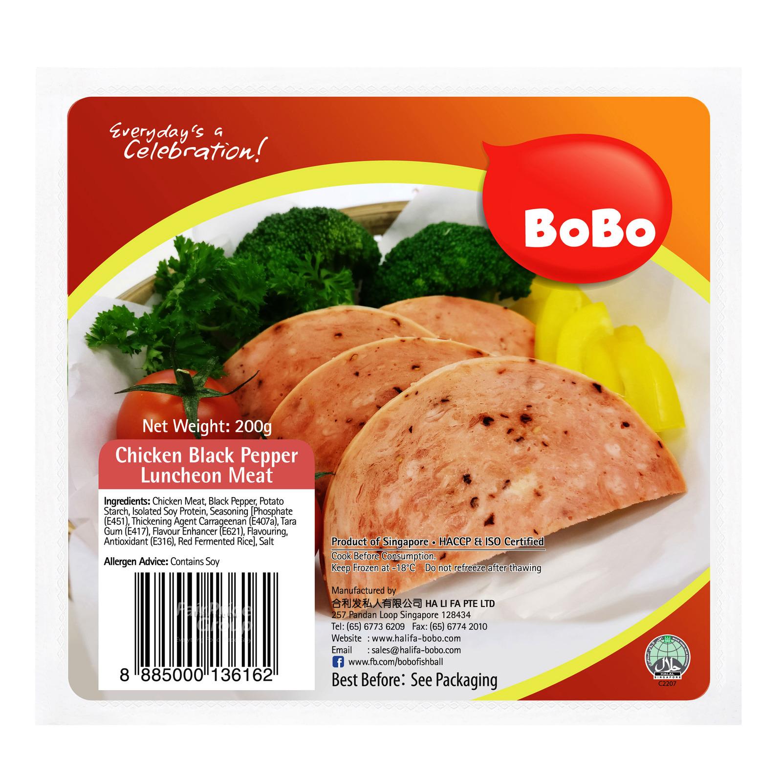BoBo Frozen Chicken Luncheon Meat - Black Pepper