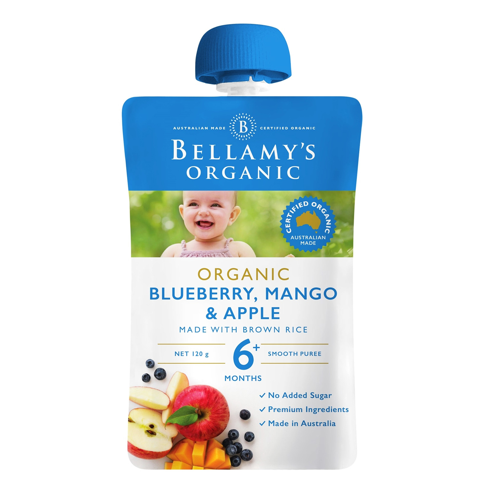 Bellamy's Organic Ready to Eat Baby Food - BlueberryMango&Apple