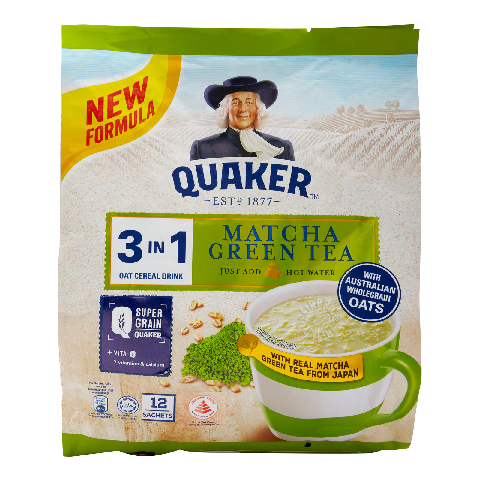 Quaker 3 in 1 Oat Cereal Drink - Matcha Green Tea