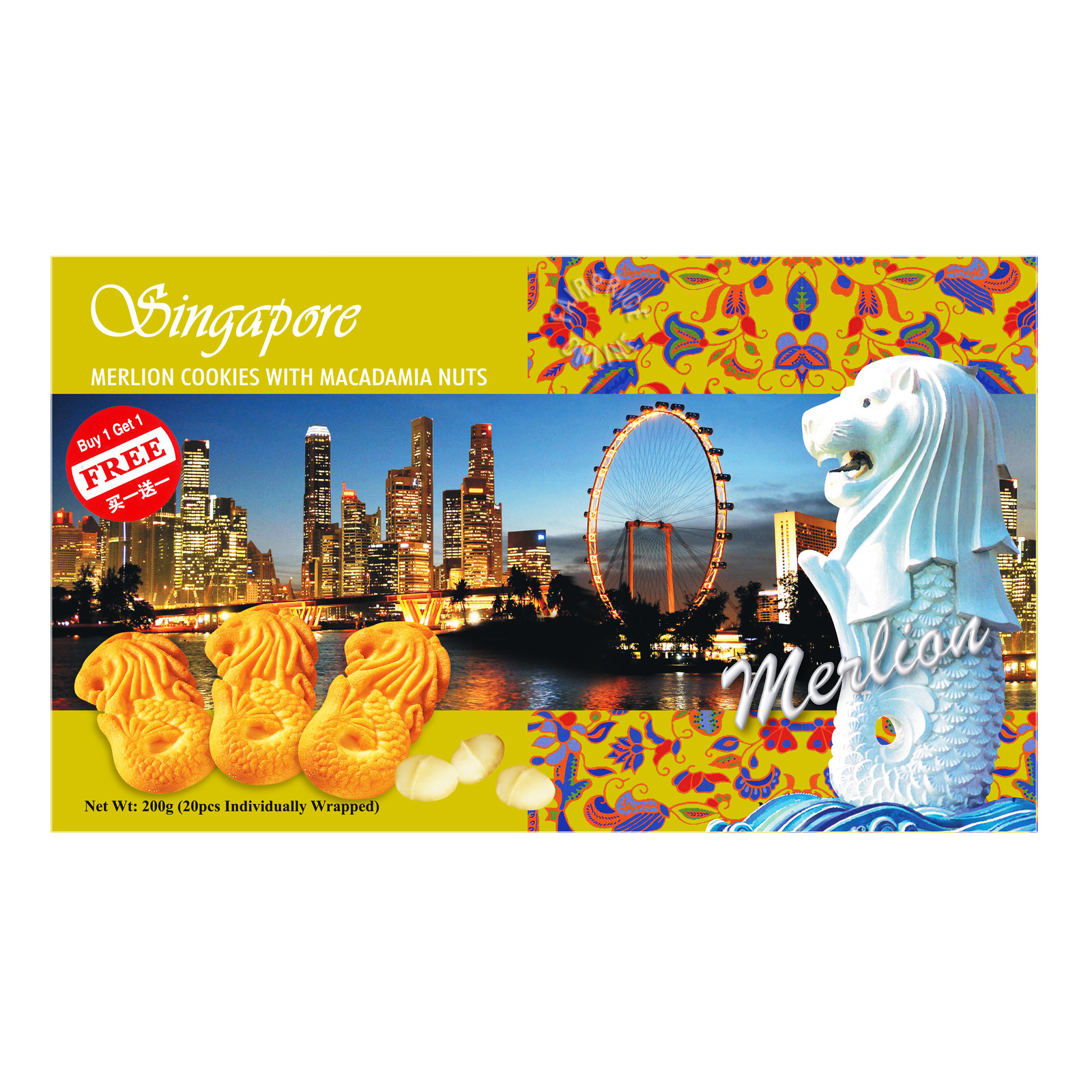 Manly Singapore Merlion Cookies - Macadamia Nuts