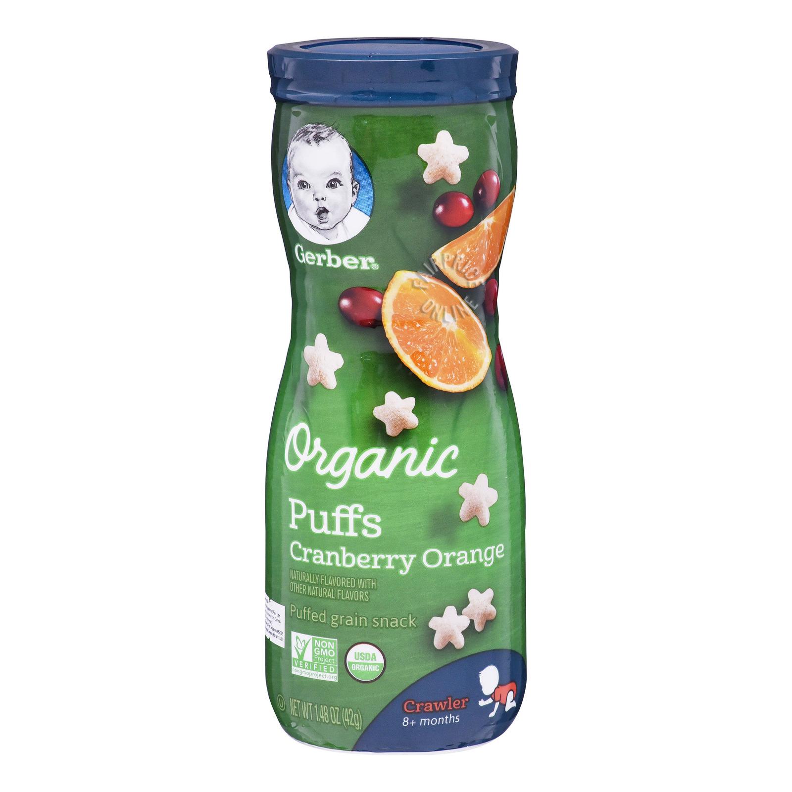 Gerber Organic Baby Puffs - Cranberry Orange