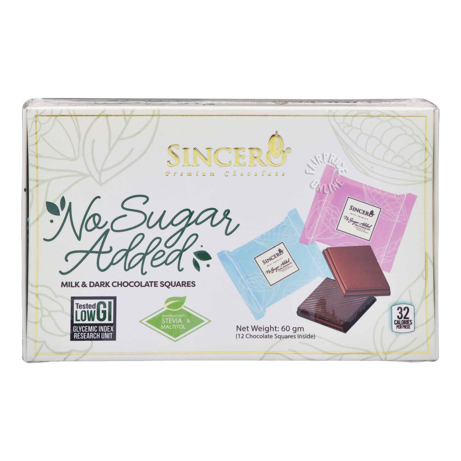 Sincero Milk & Dark Chocolate Squares (No Sugar Added)