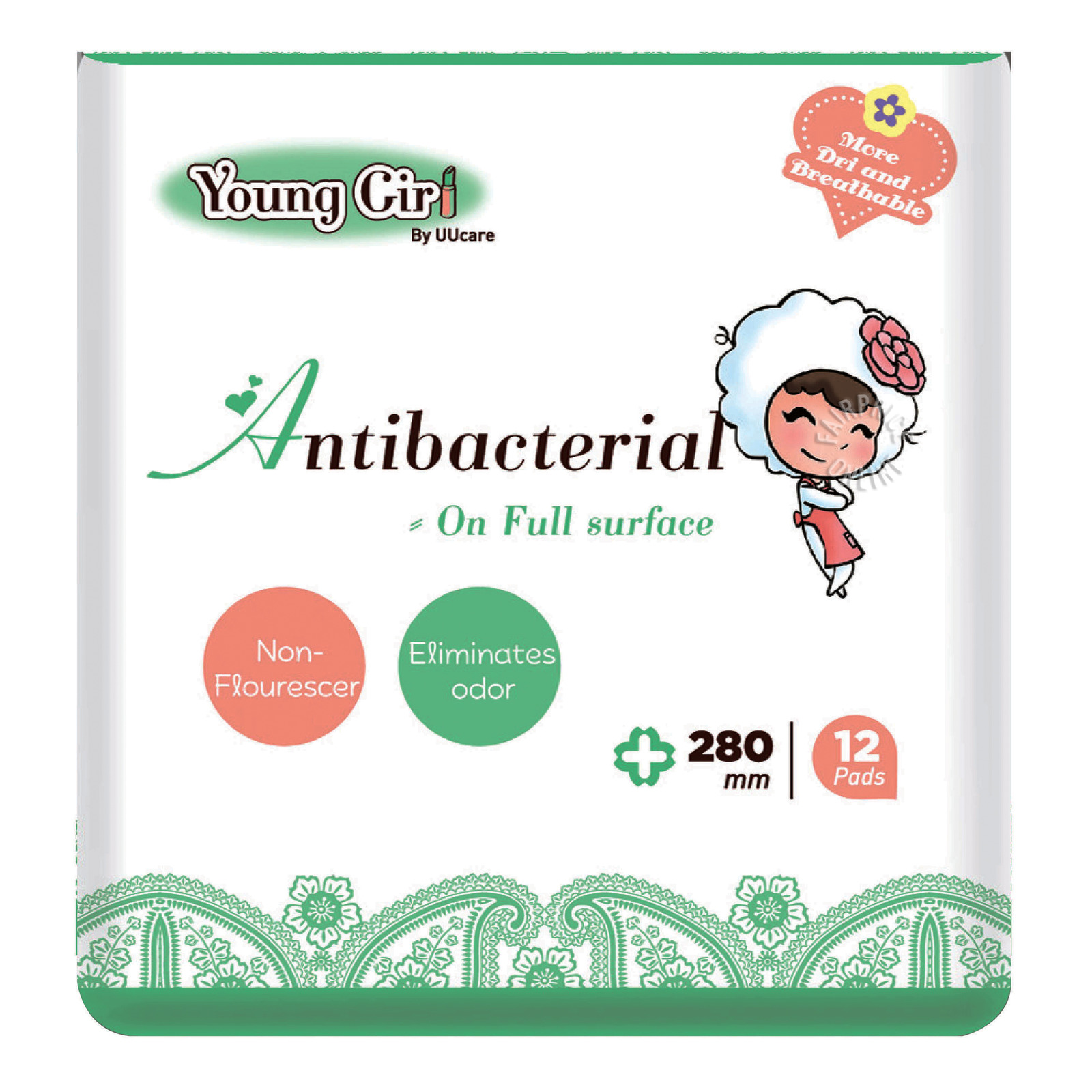 UU Care Young Girl Antibacterial Pads - 280mm