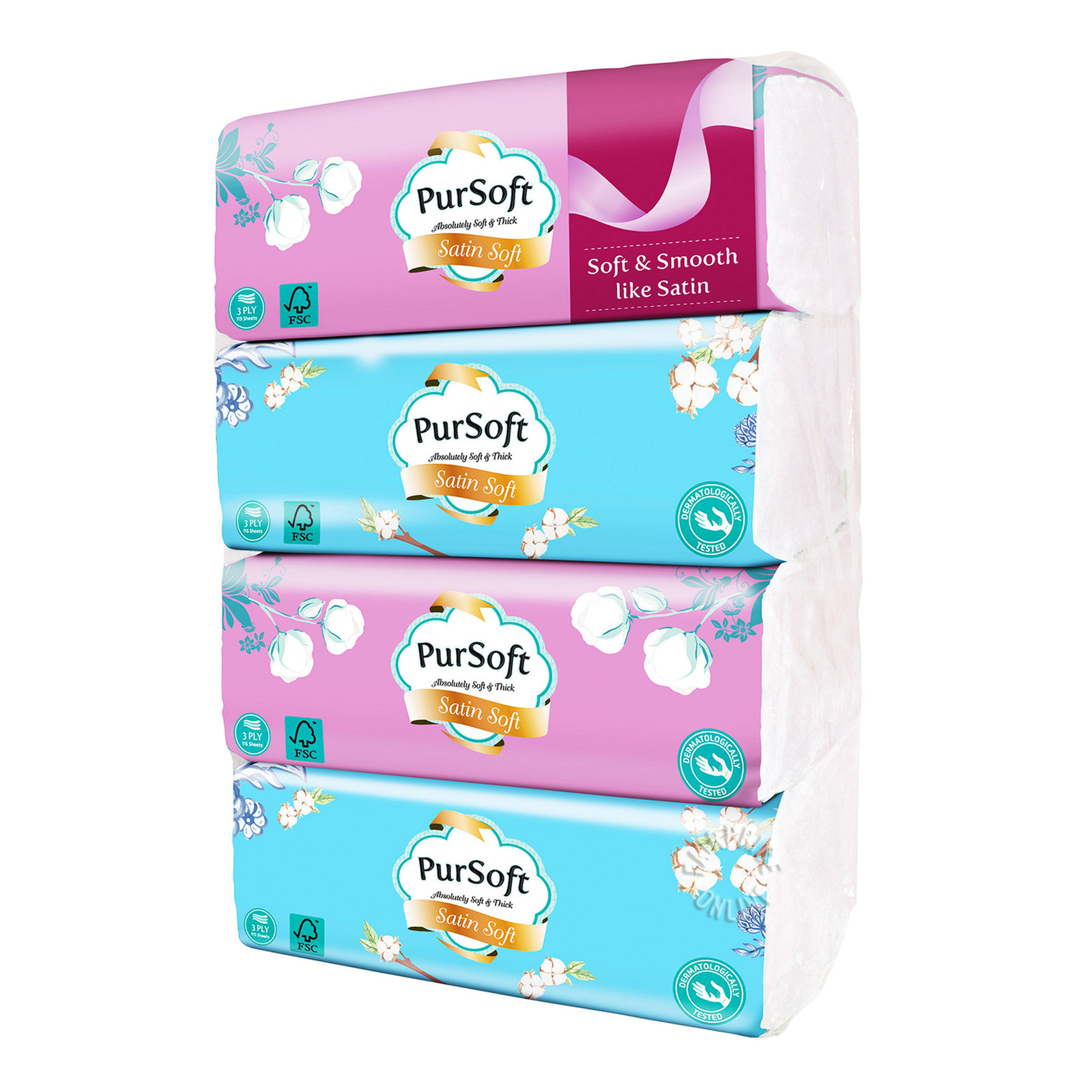 PurSoft Tissue Soft Pack - Satin Soft (3ply)