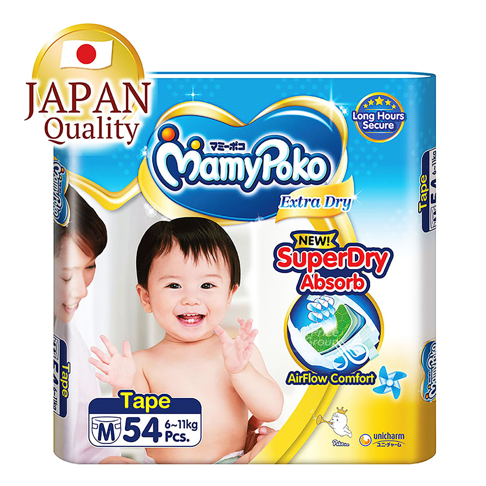 MamyPoko Extra Dry Tape Diapers - M (6 - 11kg)