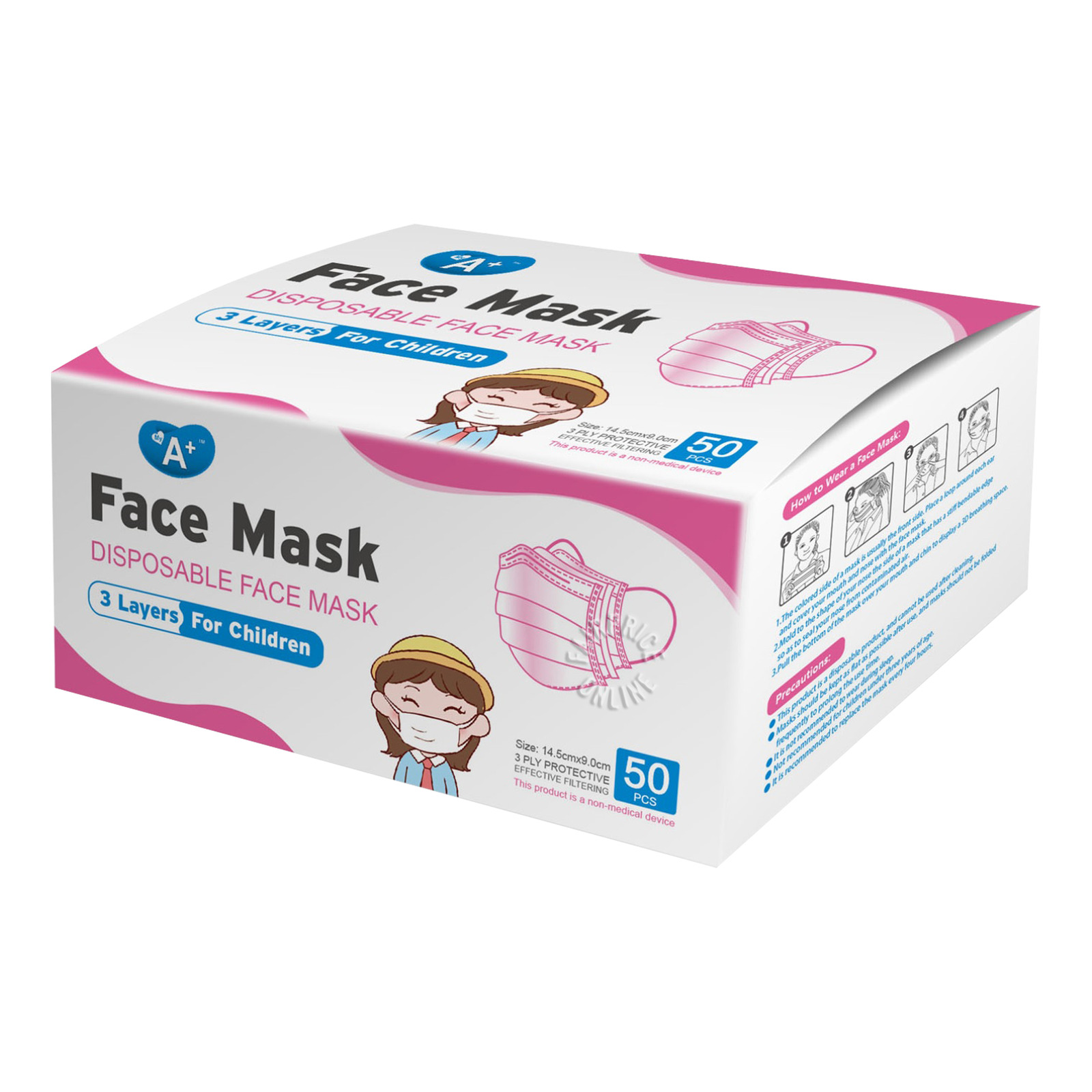 A+ Disposable Face Mask For Children - Pink