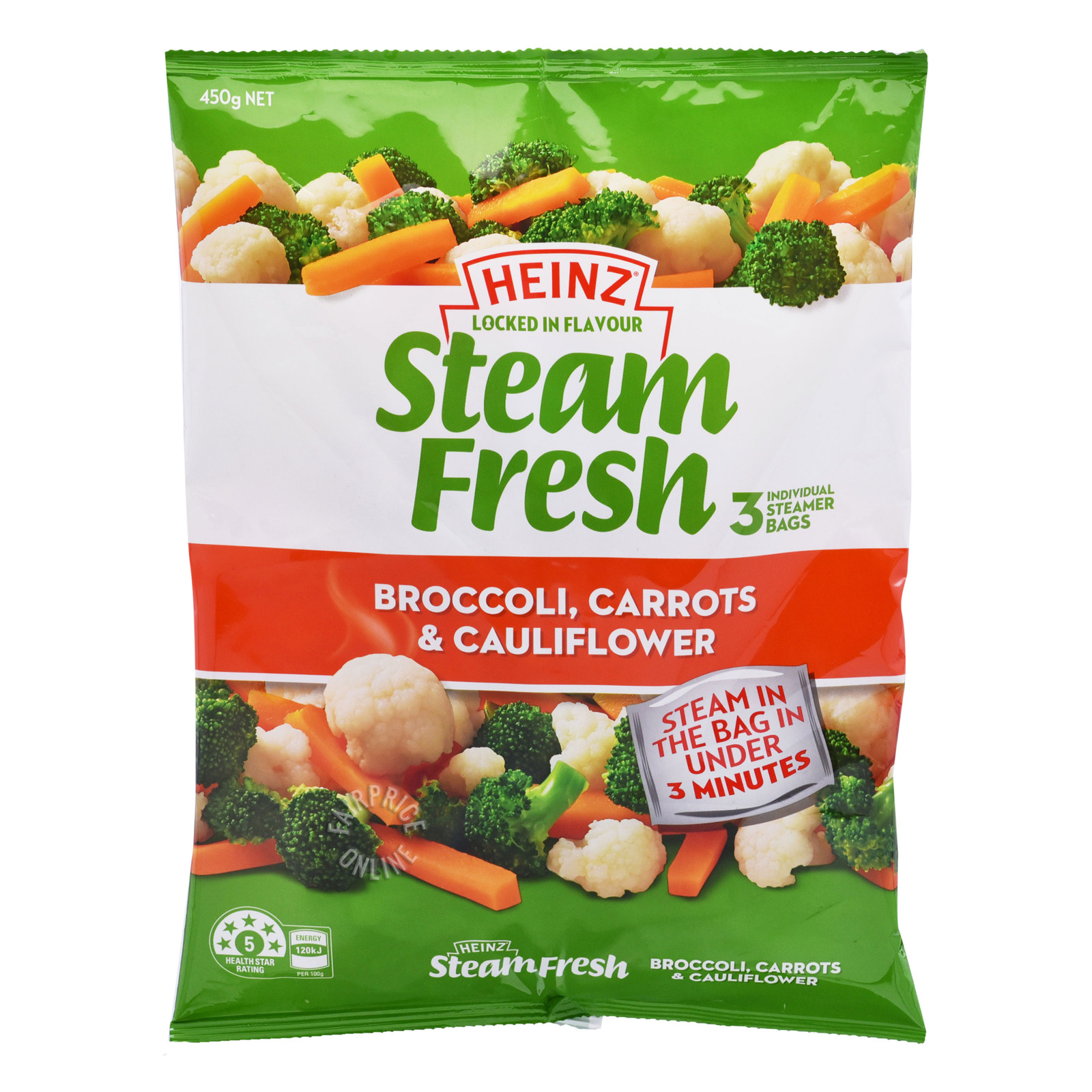 Heinz Steam Fresh Vegetables Bags - Broccoli,Carrots&Cauliflower