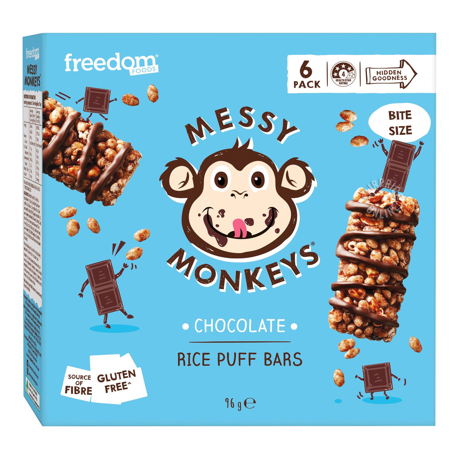 Freedom Foods Messy Monkeys Rice Puff Bars - Chocolate