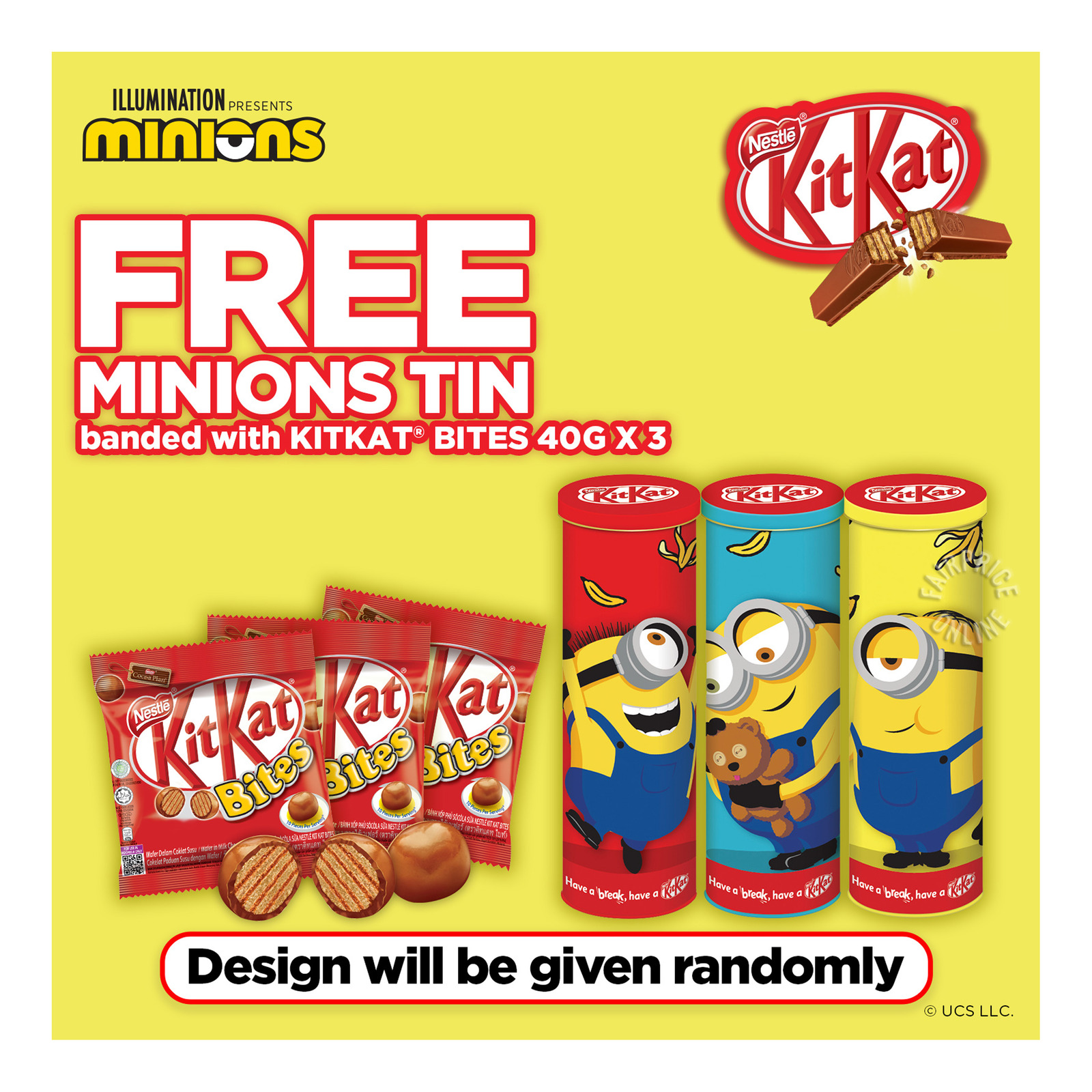 Nestle Kit Kat Milk Chocolate Wafer Bites + Free Minion Tins