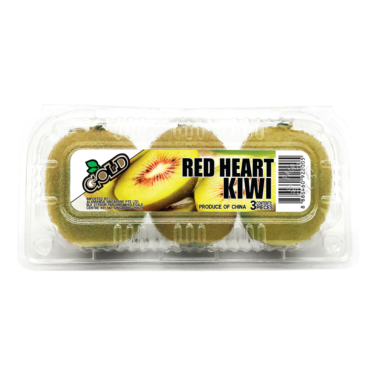Gold China Red Heart Kiwi