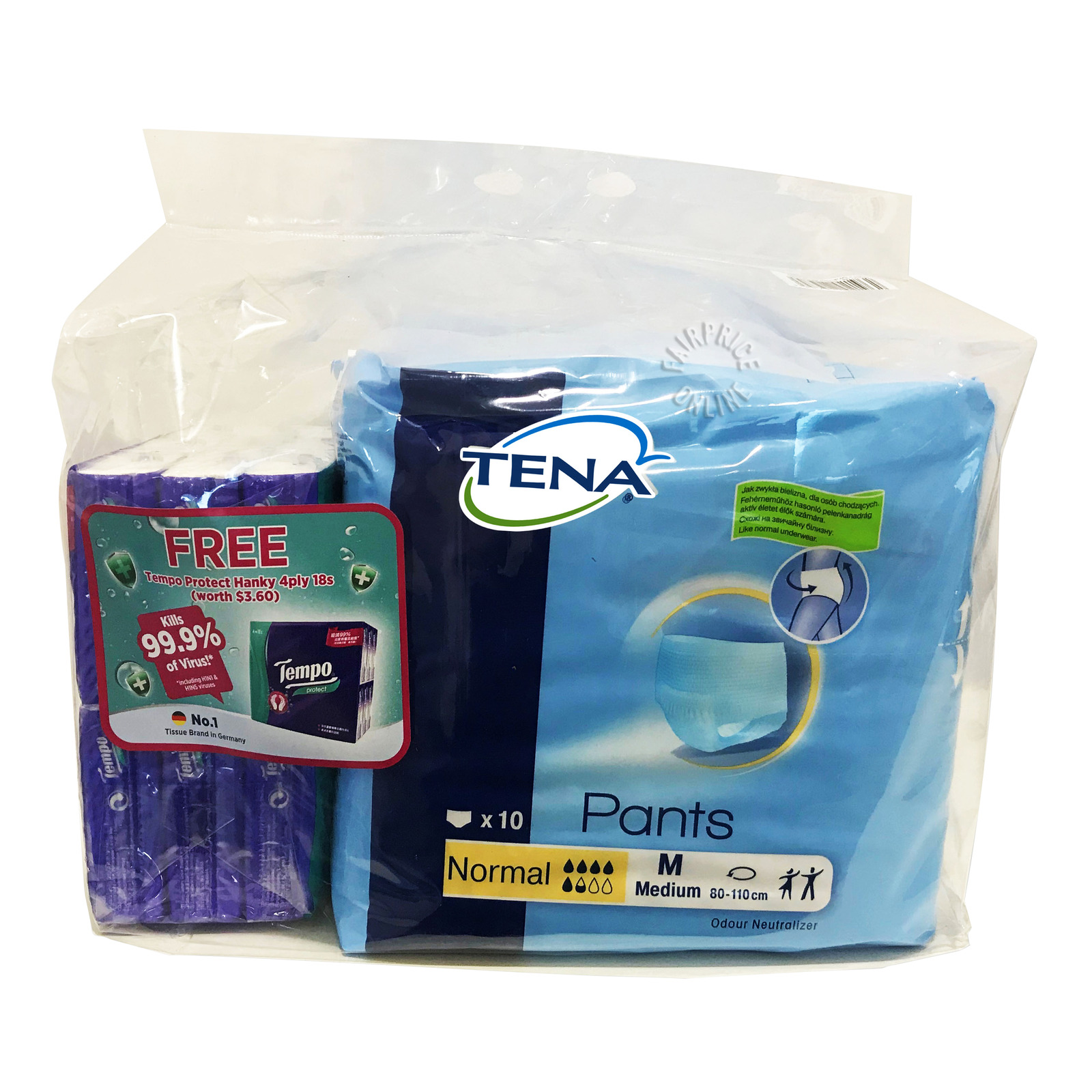 TENA Pants Normal Unisex Adult Diapers - M+FreeTissue