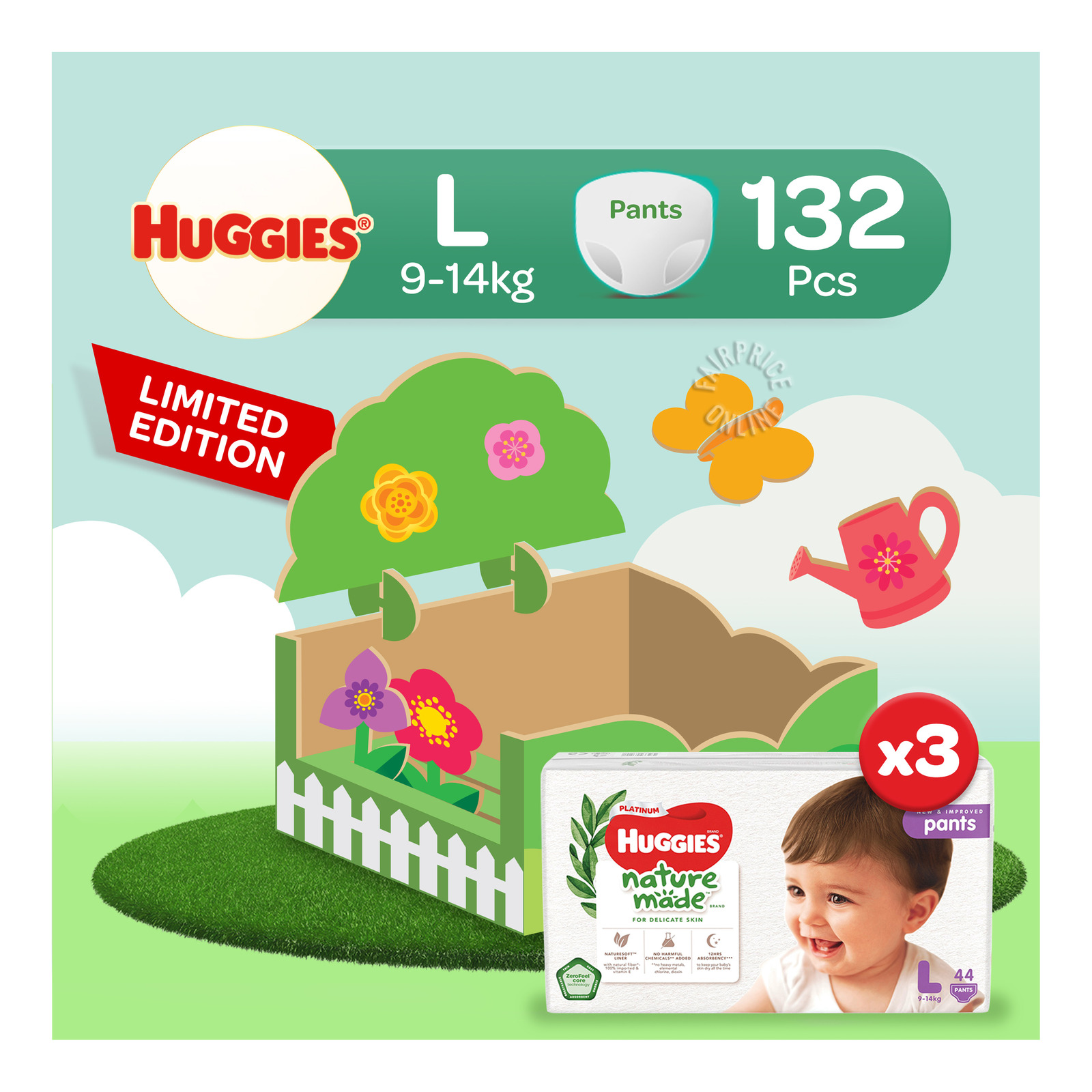 Huggies Platinum Nature Made Pants - L (9 - 14kg)