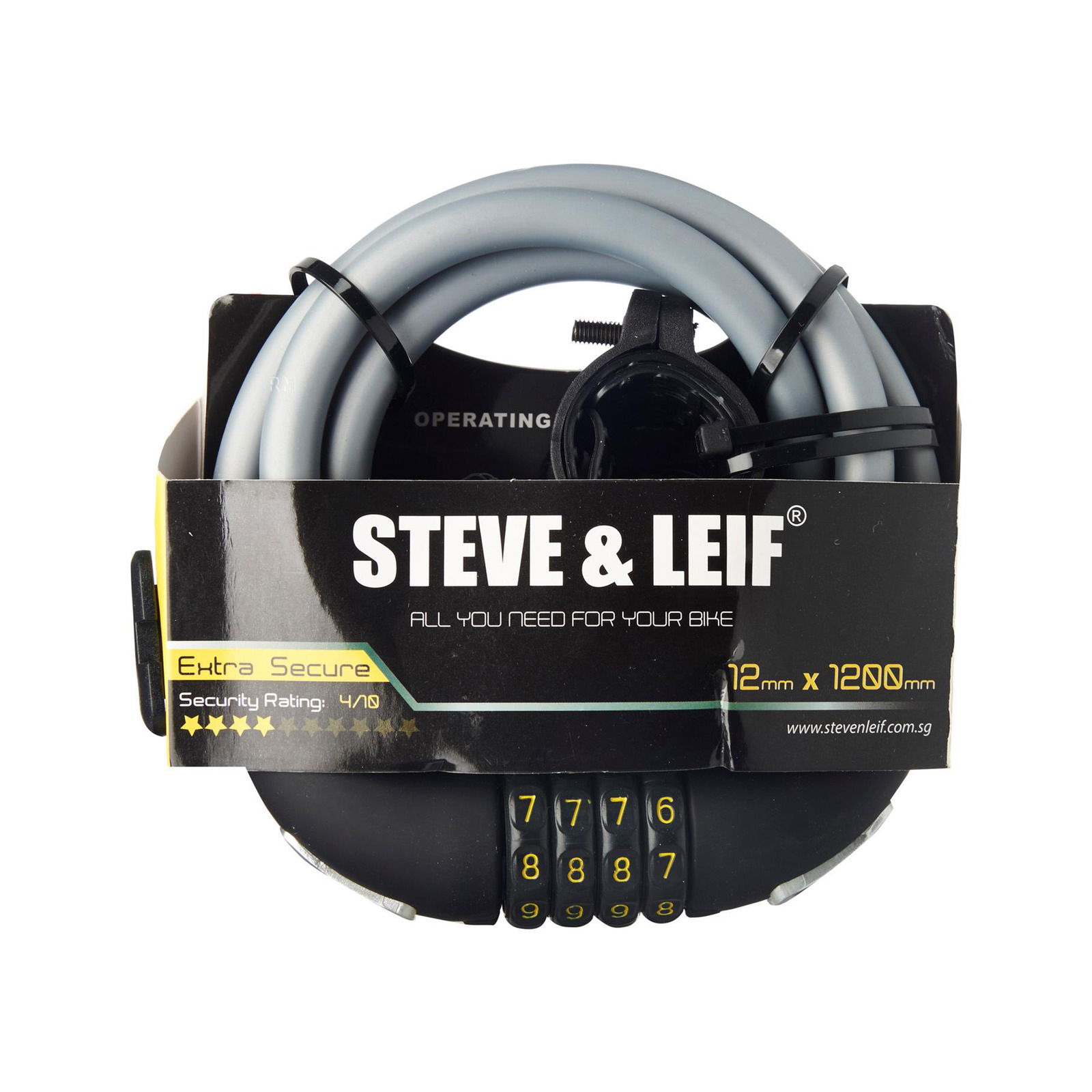 Steve & Leif Bicycle Combination Lock With Bracket