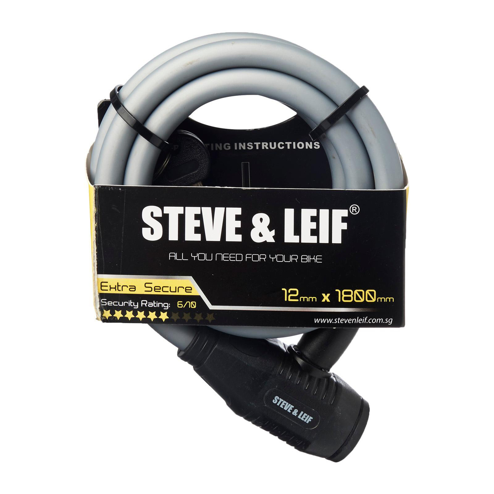 Steve & Leif Bicycle Key Lock With Bracket (12mm x 1800mm)