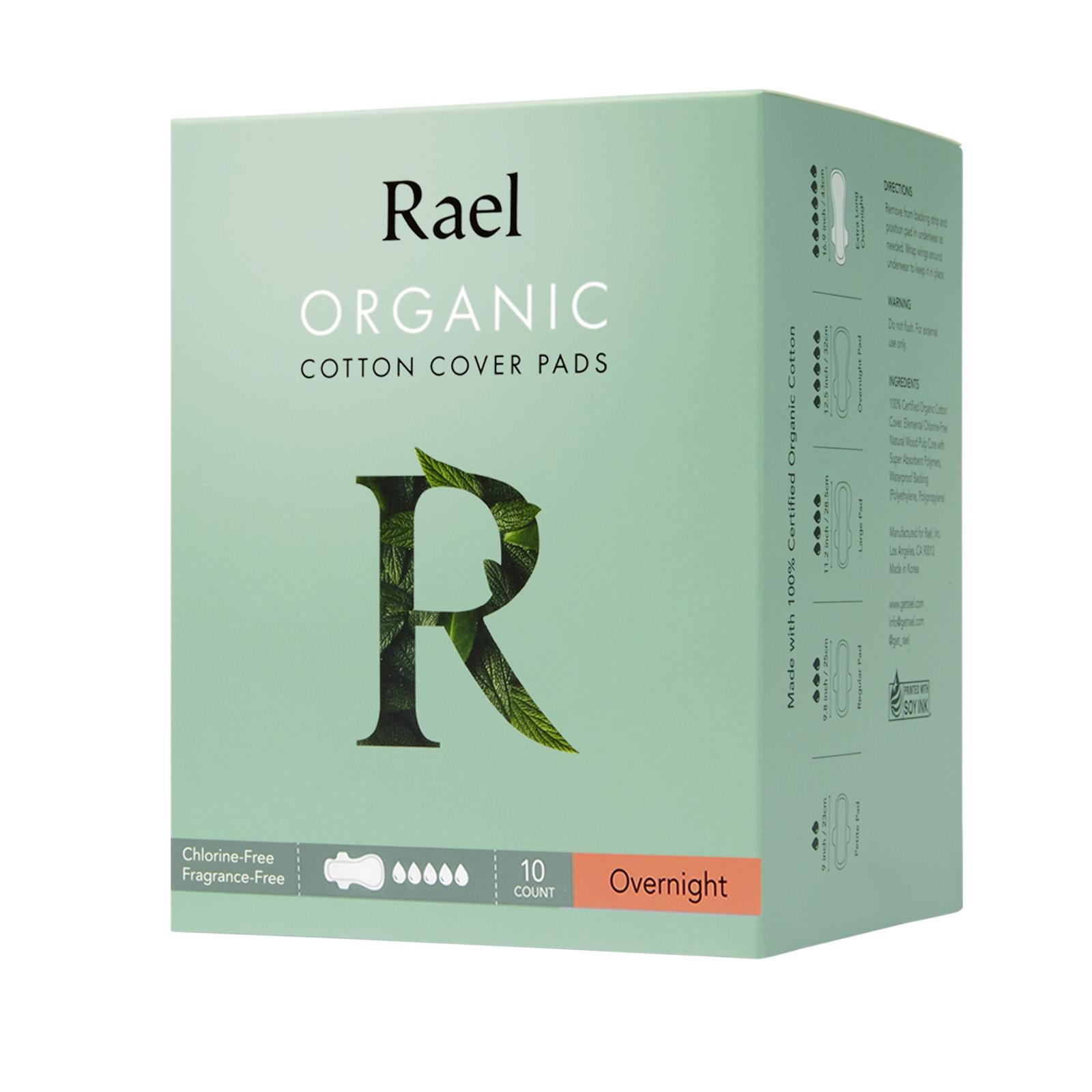 Rael Organic Cotton Cover Pads - Overnight