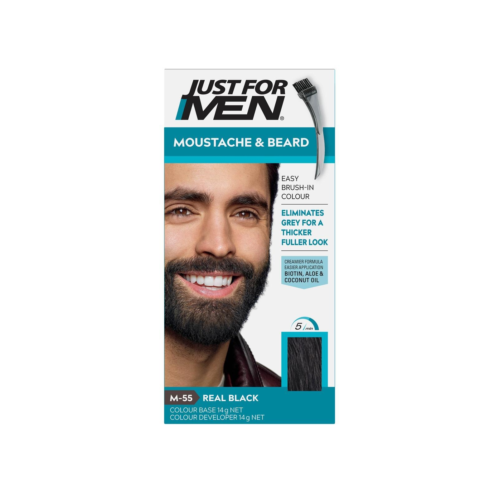 Just For Men Brush-In Color Gel for Beard & Sideburns -Real Black