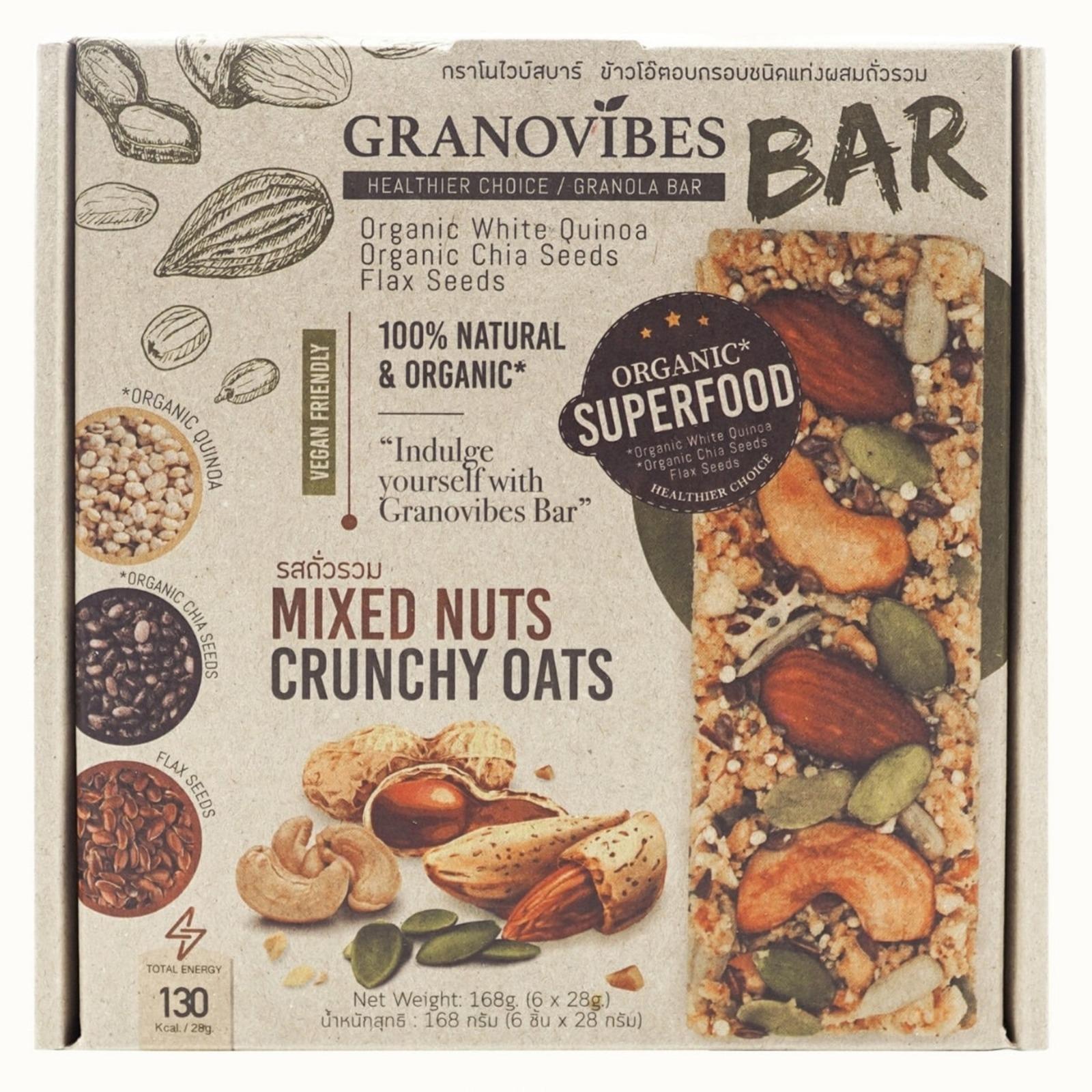 Granovibes Bar - Mixed Nuts Crunchy Oats Bar