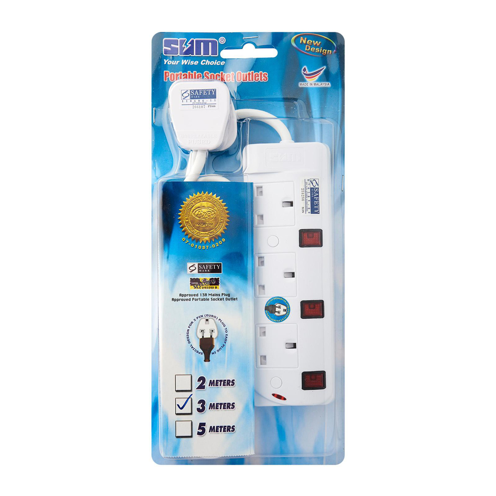SUM 3 Outlets 3 Pin Portable Socket (3M)