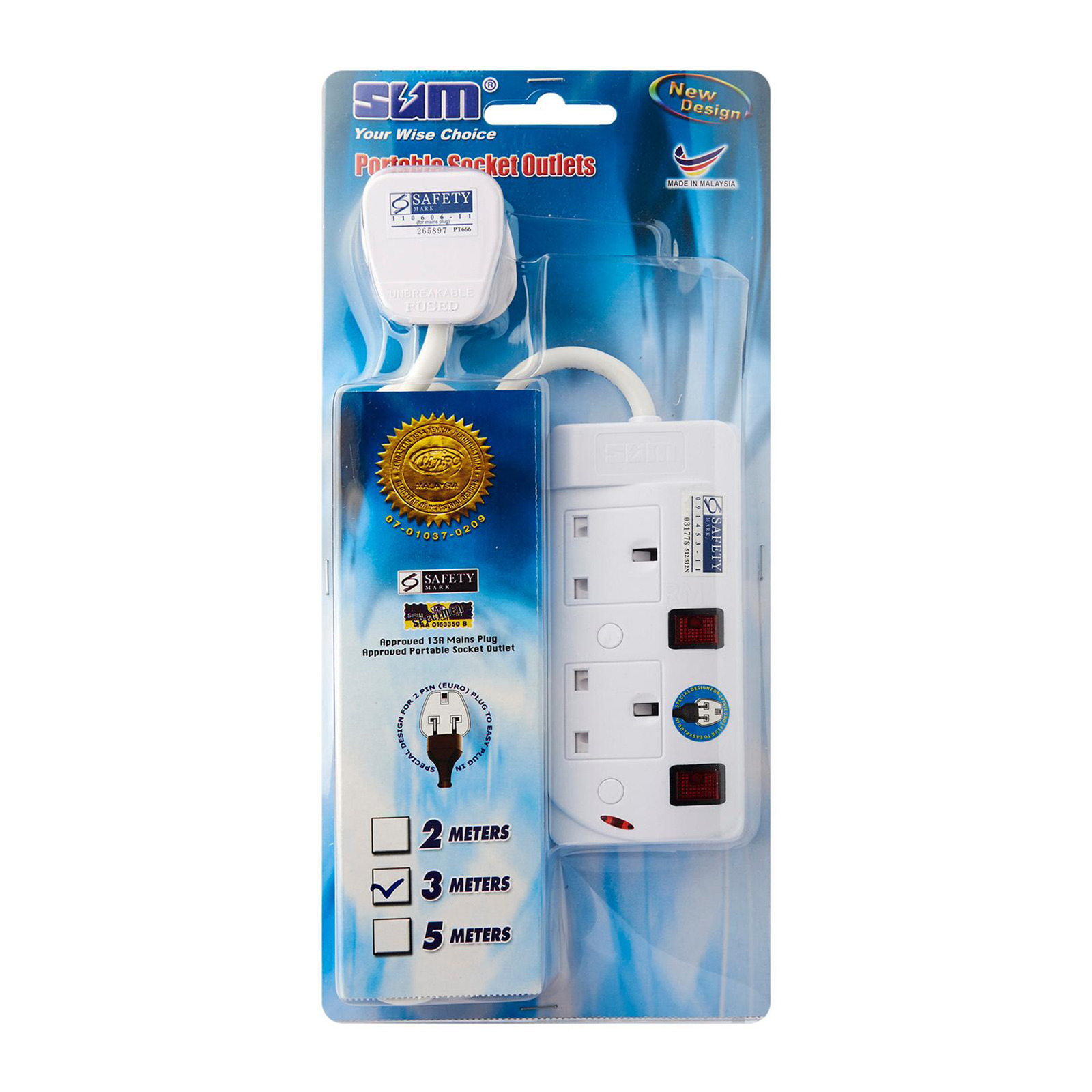 SUM 2 Outlets 3 Pin Portable Socket (3M)