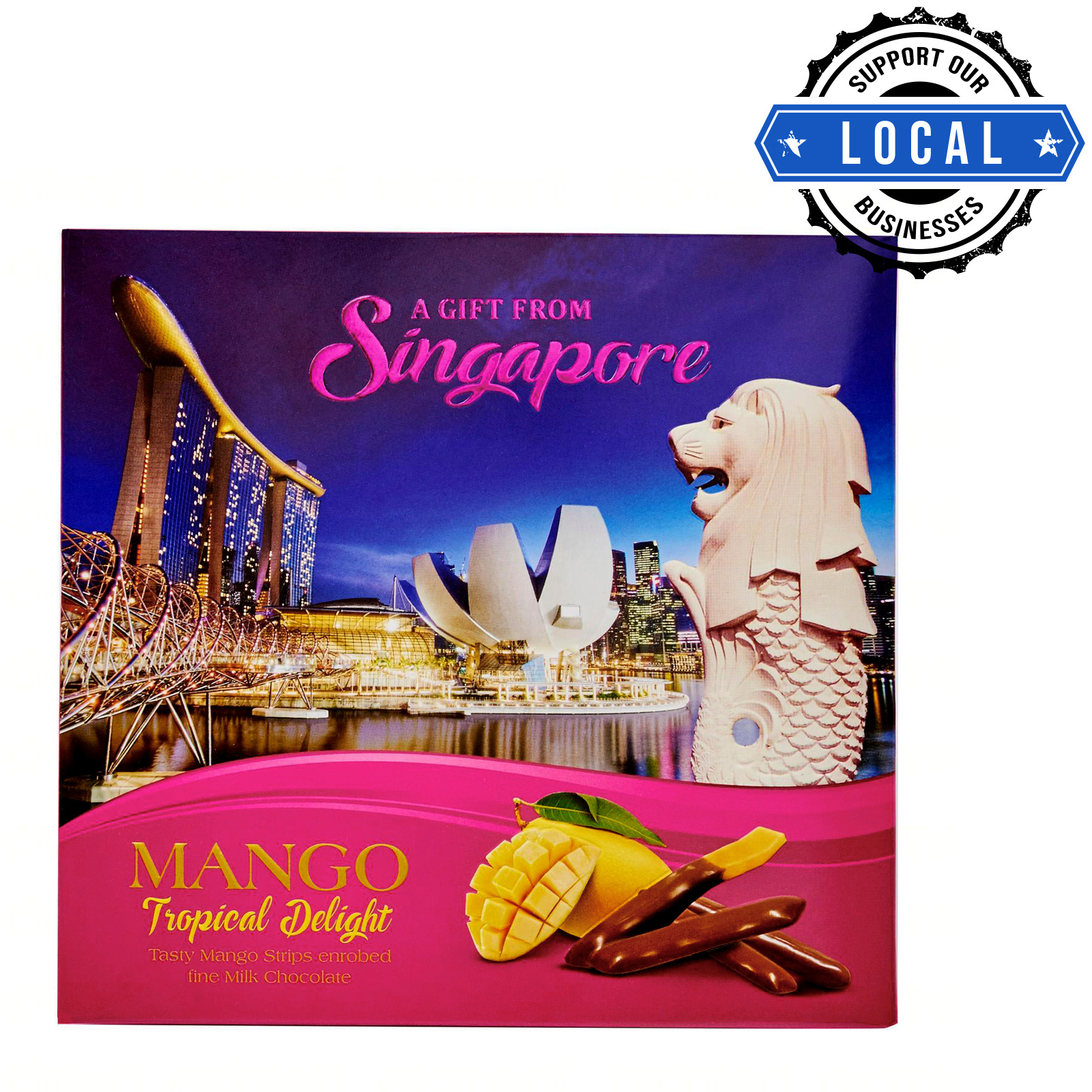Manly Singapore Merlion Dried Mango Strips - Milk Chocolate