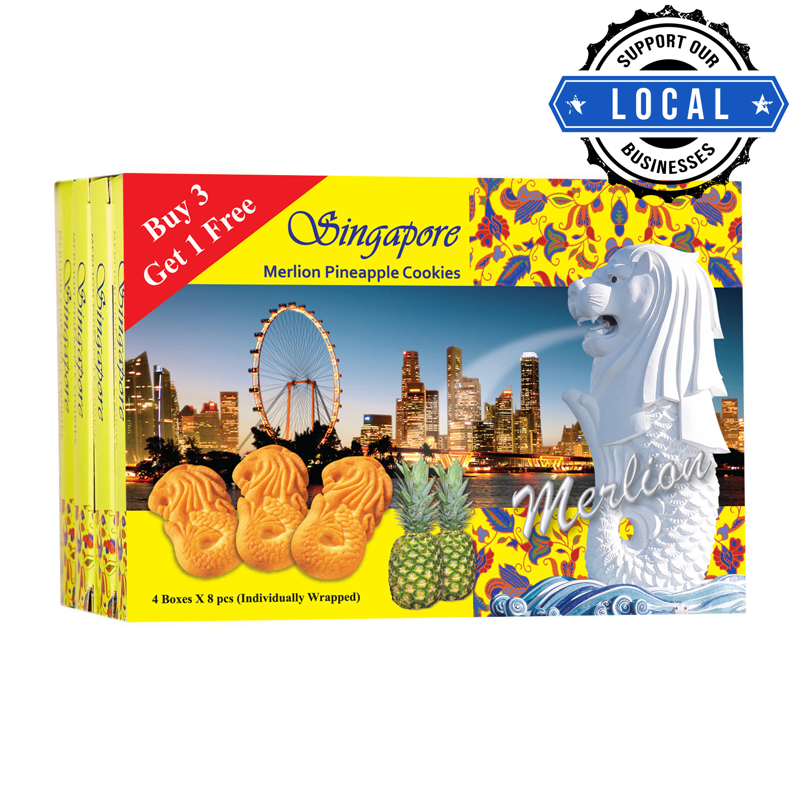 Manly Singapore Merlion Butter Cookies - Pineapple (3 + 1)