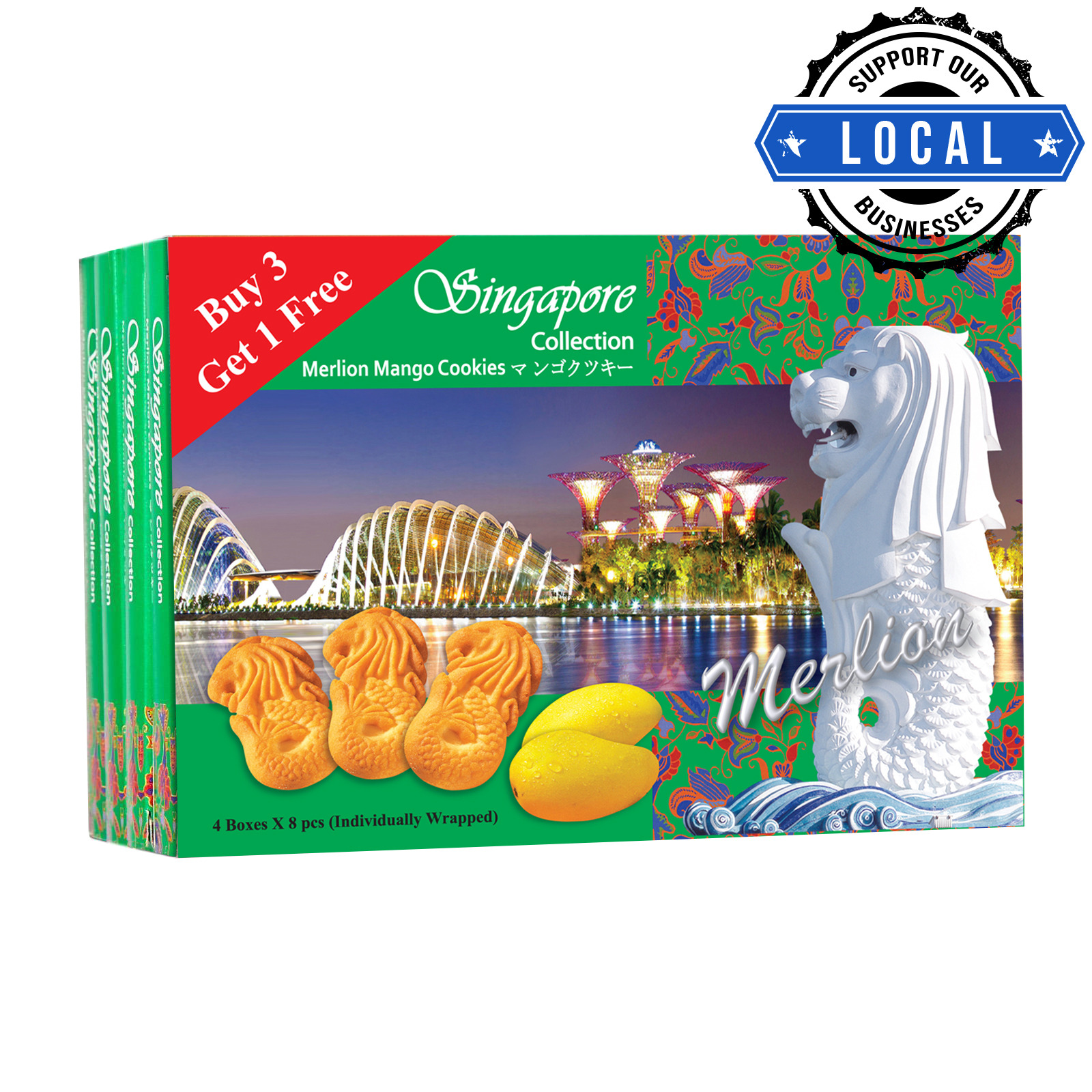 Manly Singapore Merlion Butter Cookies - Mango (3 + 1)