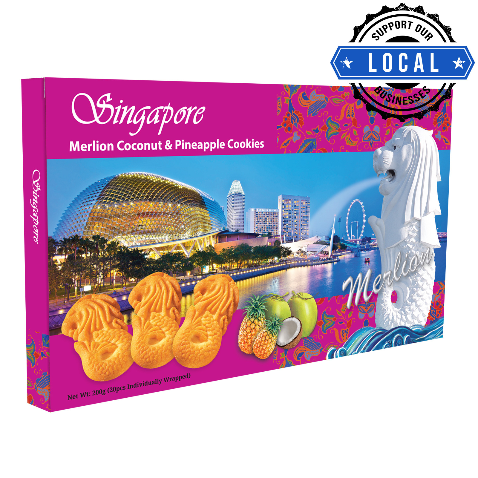 Manly Singapore Merlion Butter Cookies - Coconut & Pineapple
