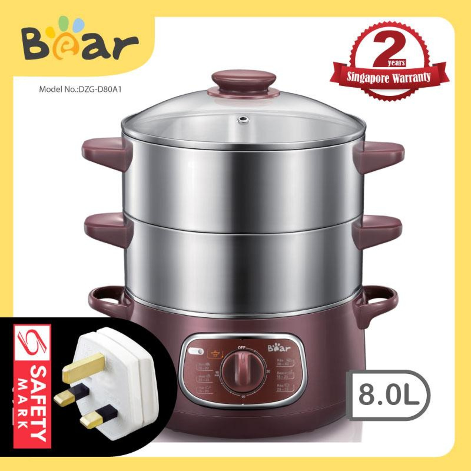 Bear Stainless Steel Food Steamer DZG-D80A1