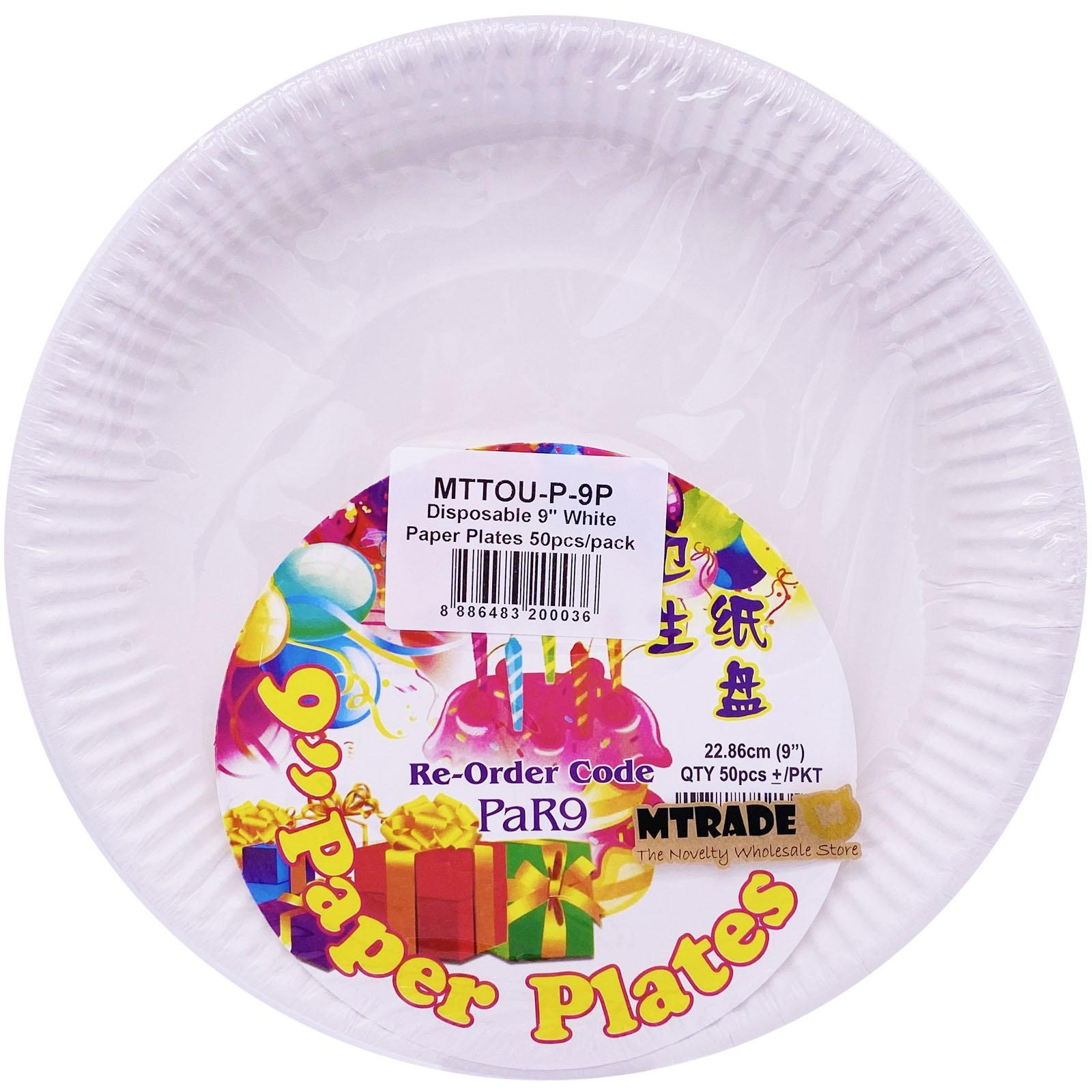 MTRADE Disposable 9 Inch White Paper Plates
