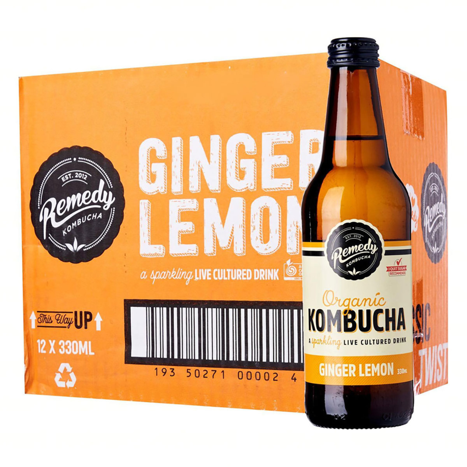 Remedy Organic Kombucha Ginger And Lemon - Case