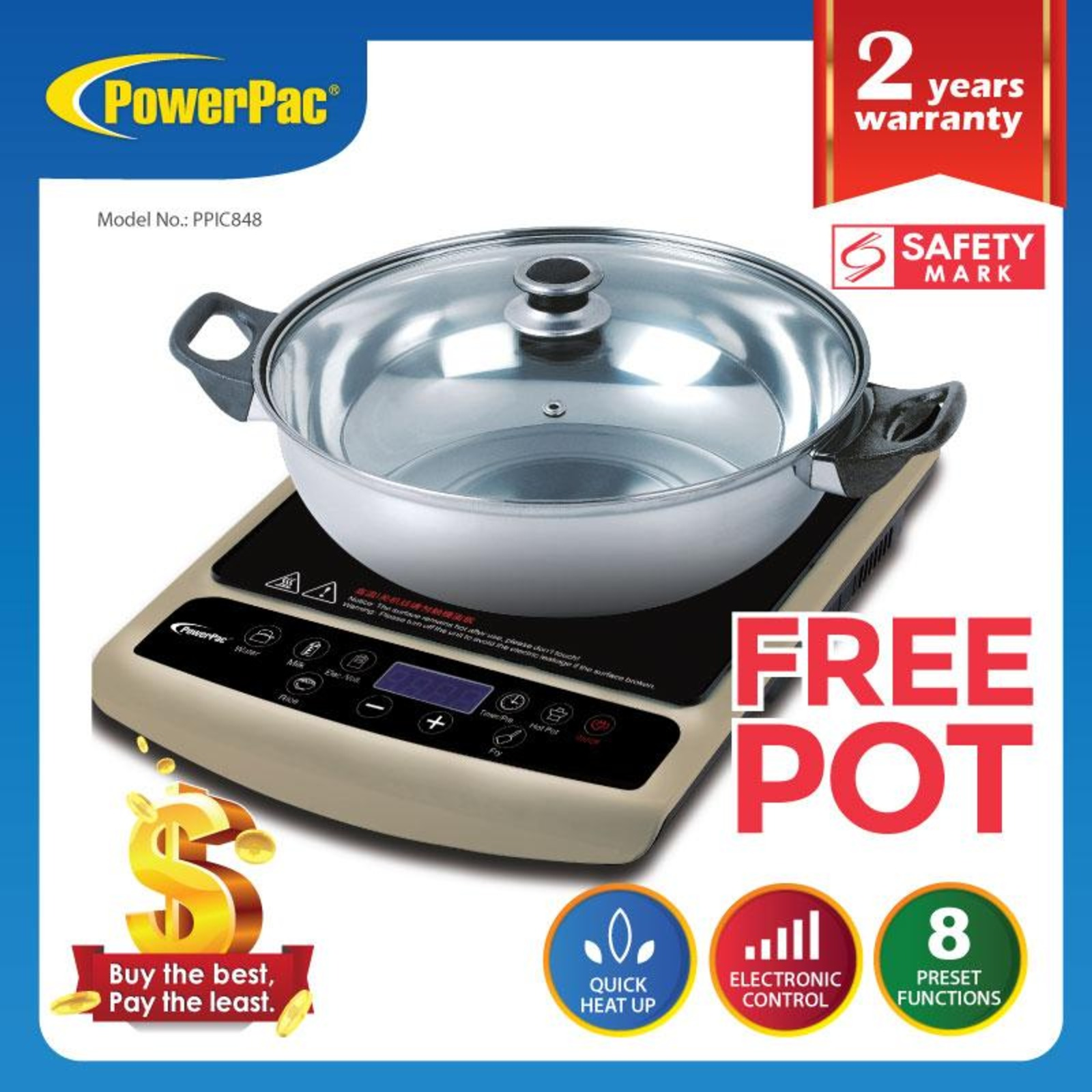 PowerPac Induction Cooker Steamboat 1800W PPIC848