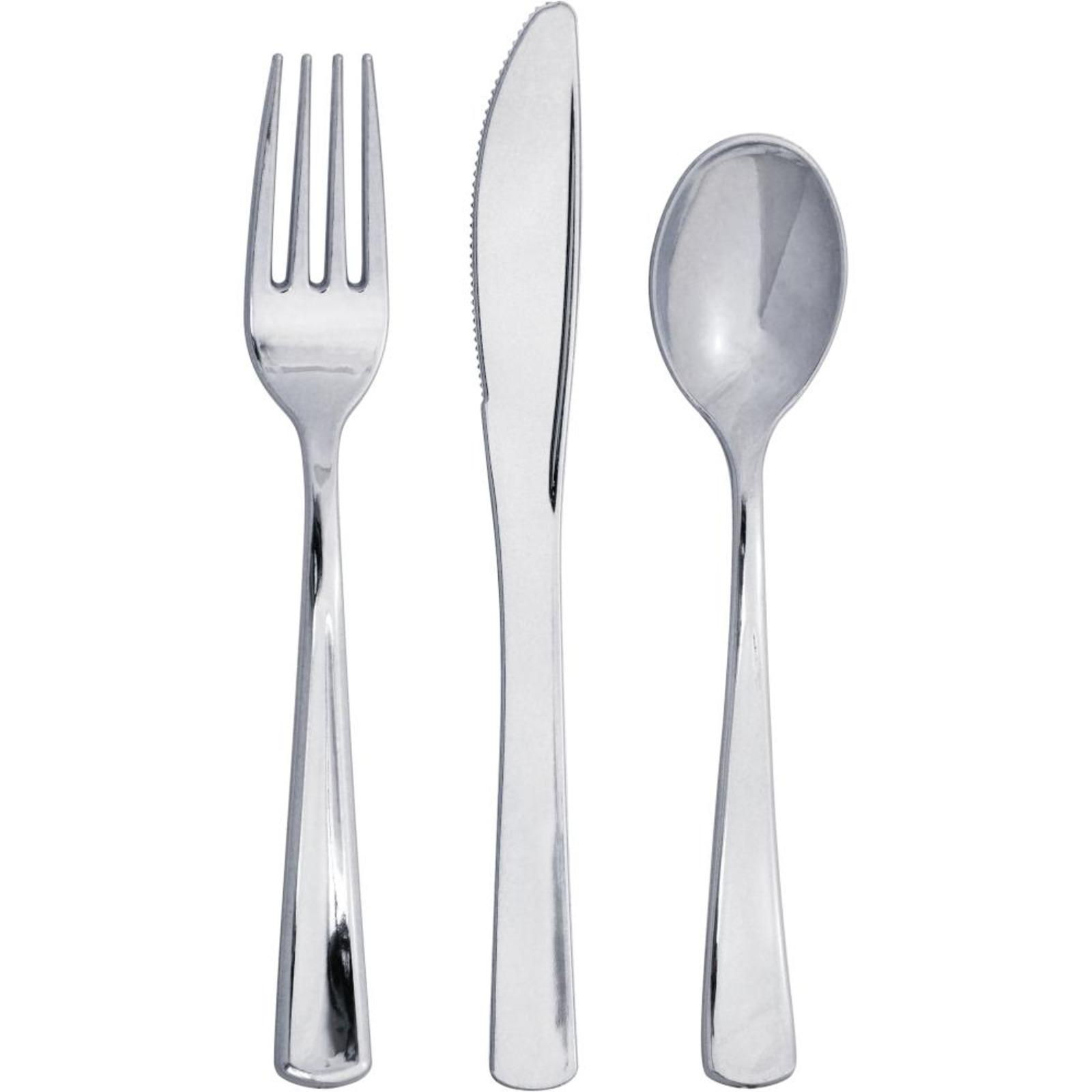 Creative Converting Silver Metallic Premium Plastic Cutlery