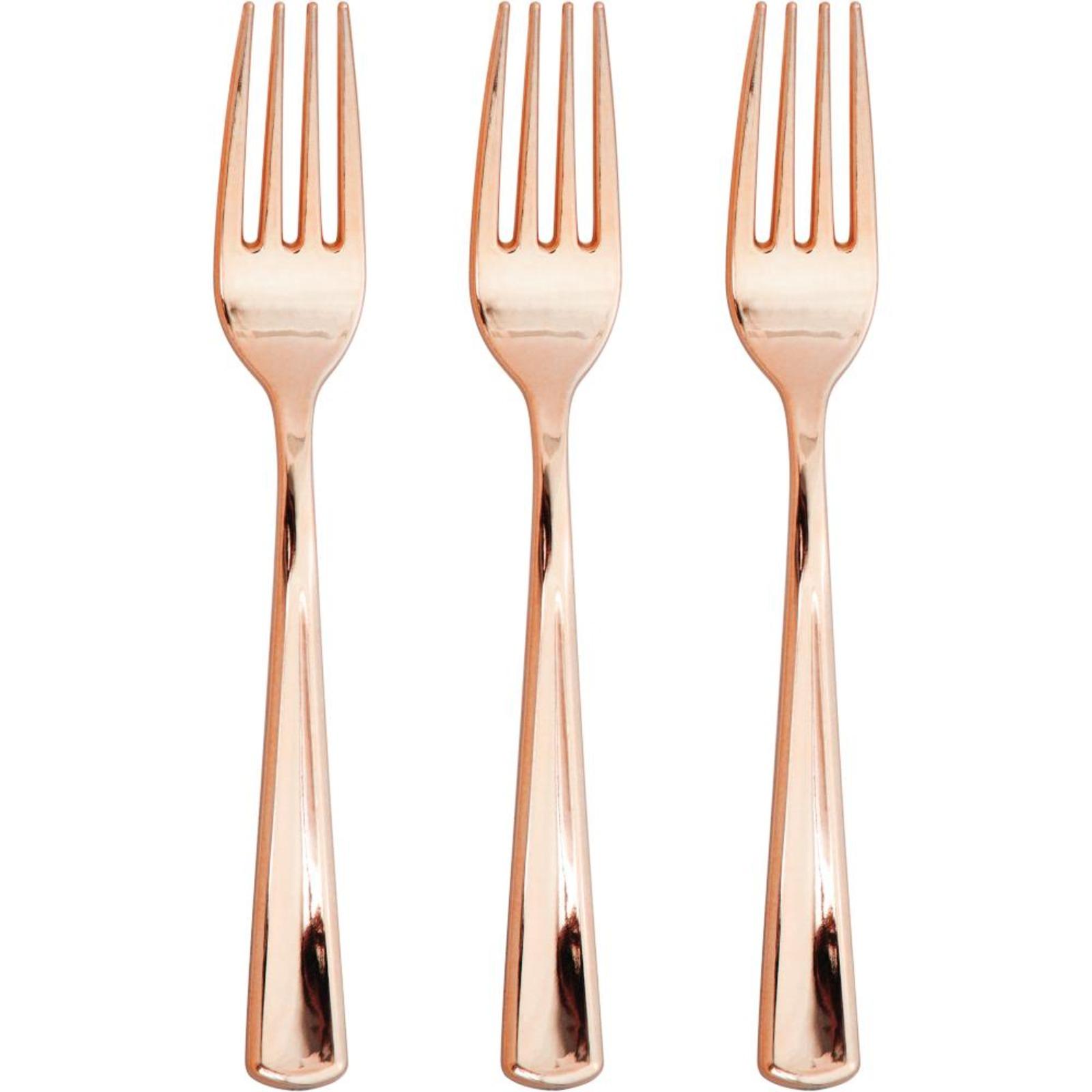 Creative Converting Rose Gold Metallic Premium Plastic Forks