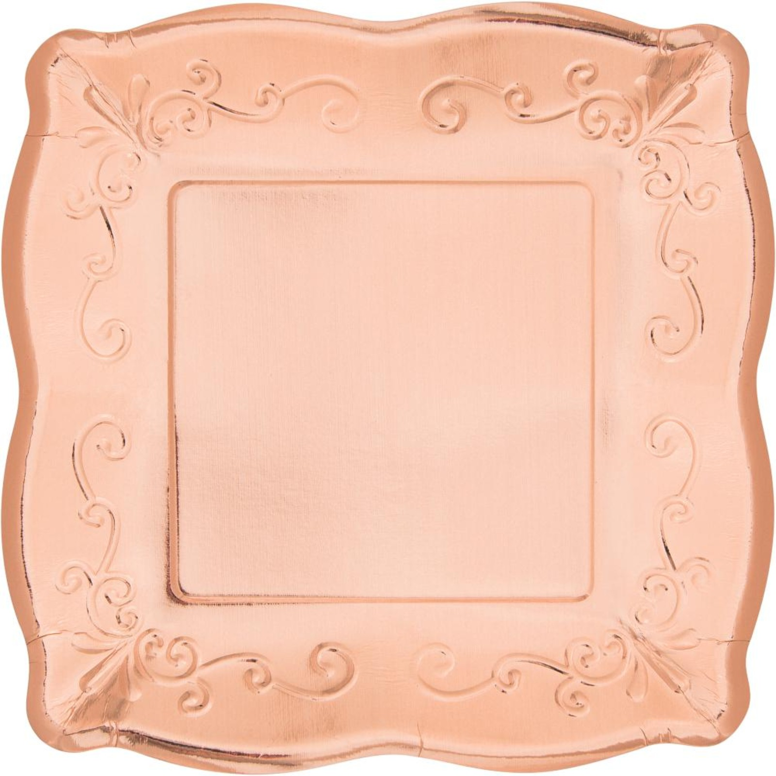 Creative Converting Rose Gold 7 Inch Embossed Square Plates