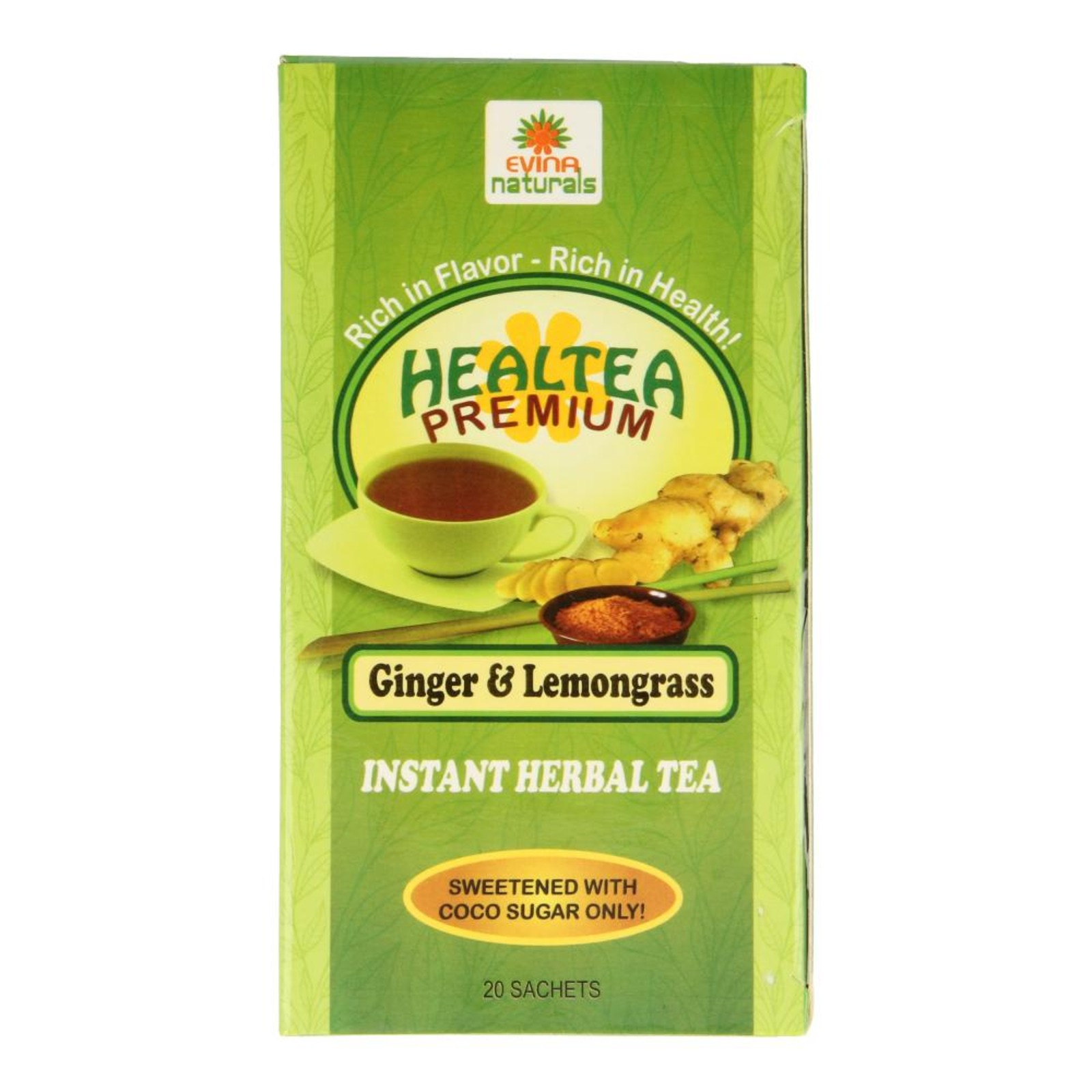 Evina Naturals Premium Ginger & Lemongrass Herbal Tea 20 x 7g