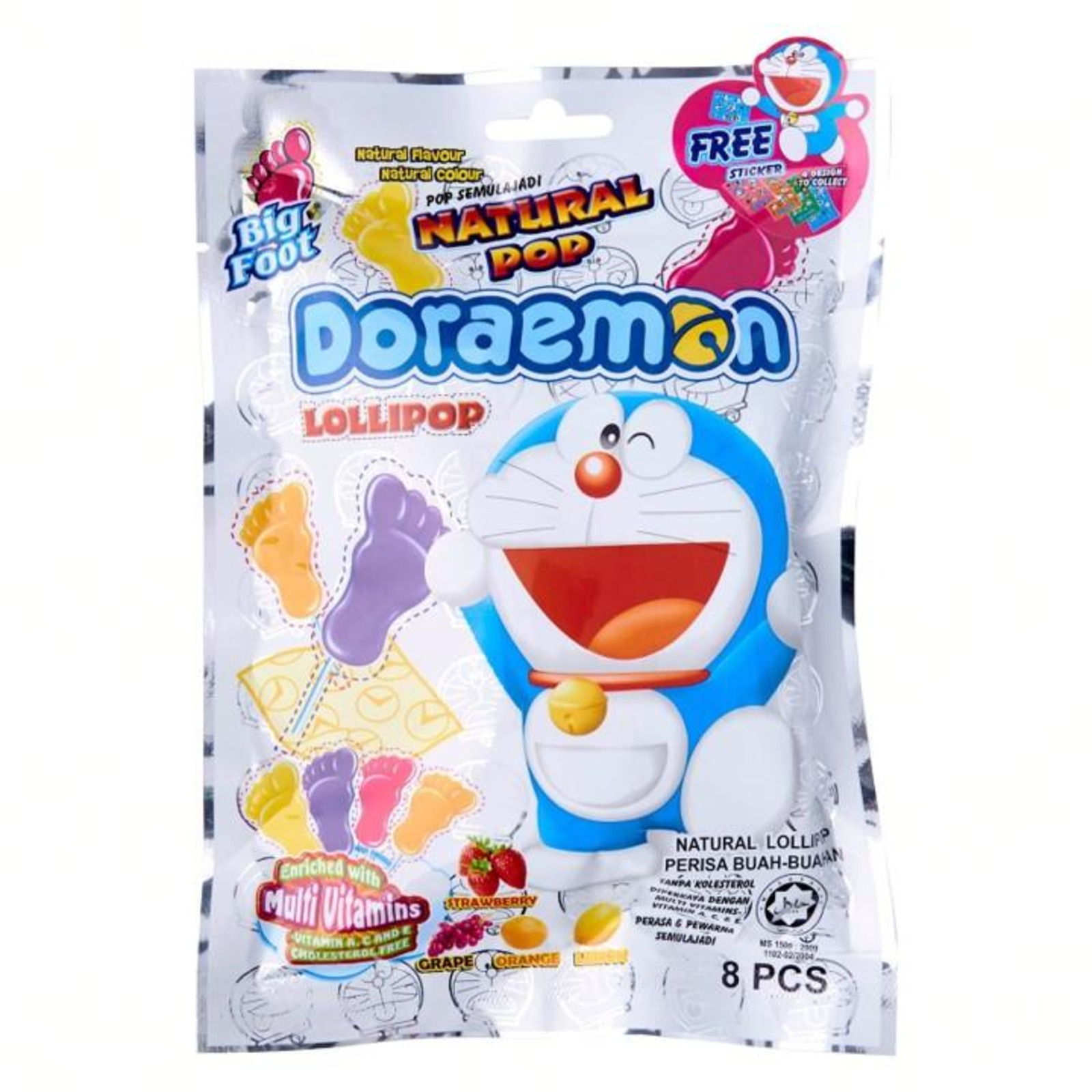 Big Foot Doraemon Lollipop Natural Pop 8pcs