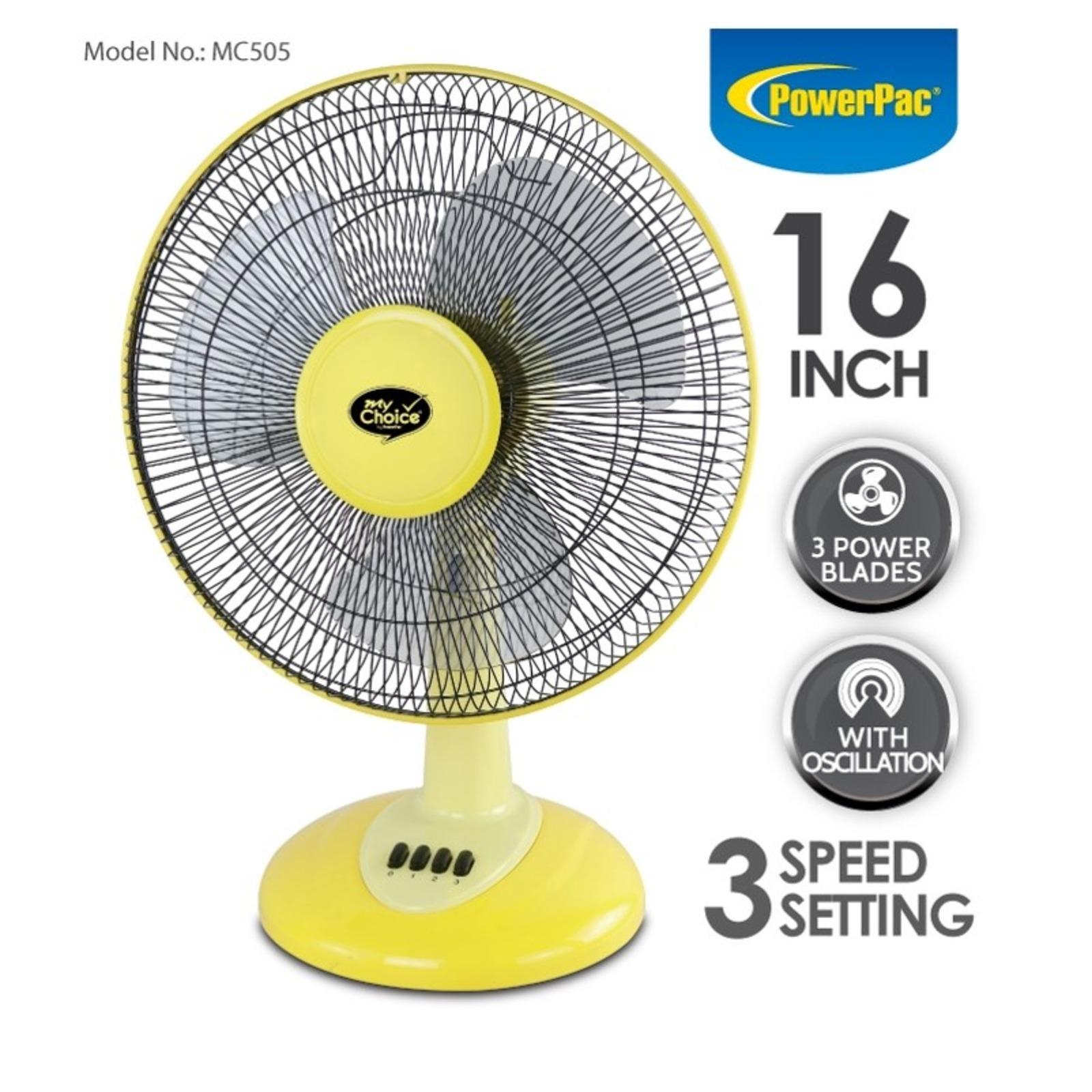 PowerPac (MC505Y) 16 Inch Desk Fan