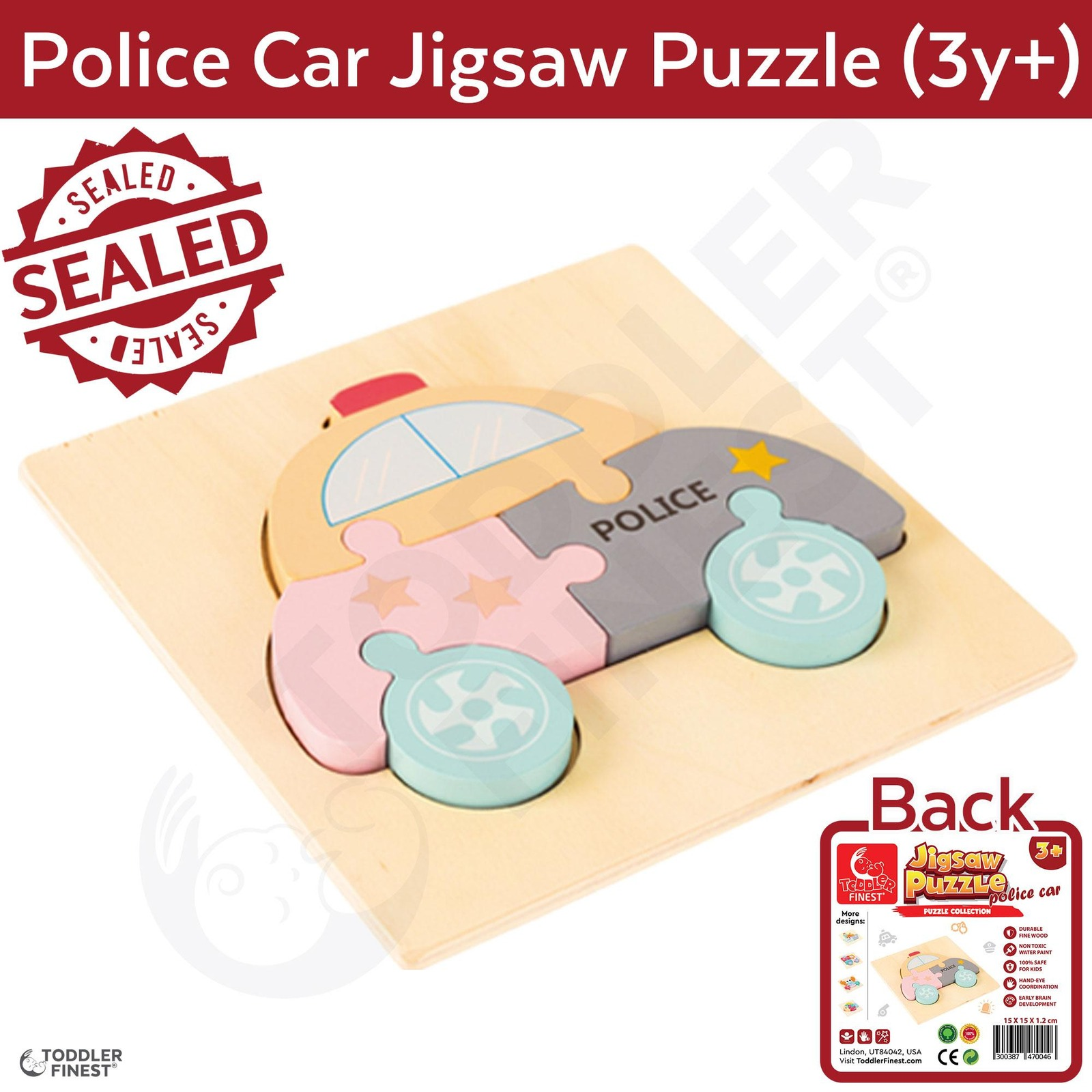 ToddlerFinest 3D Wooden Kids Jigsaw Puzzle Toys (Police Car)