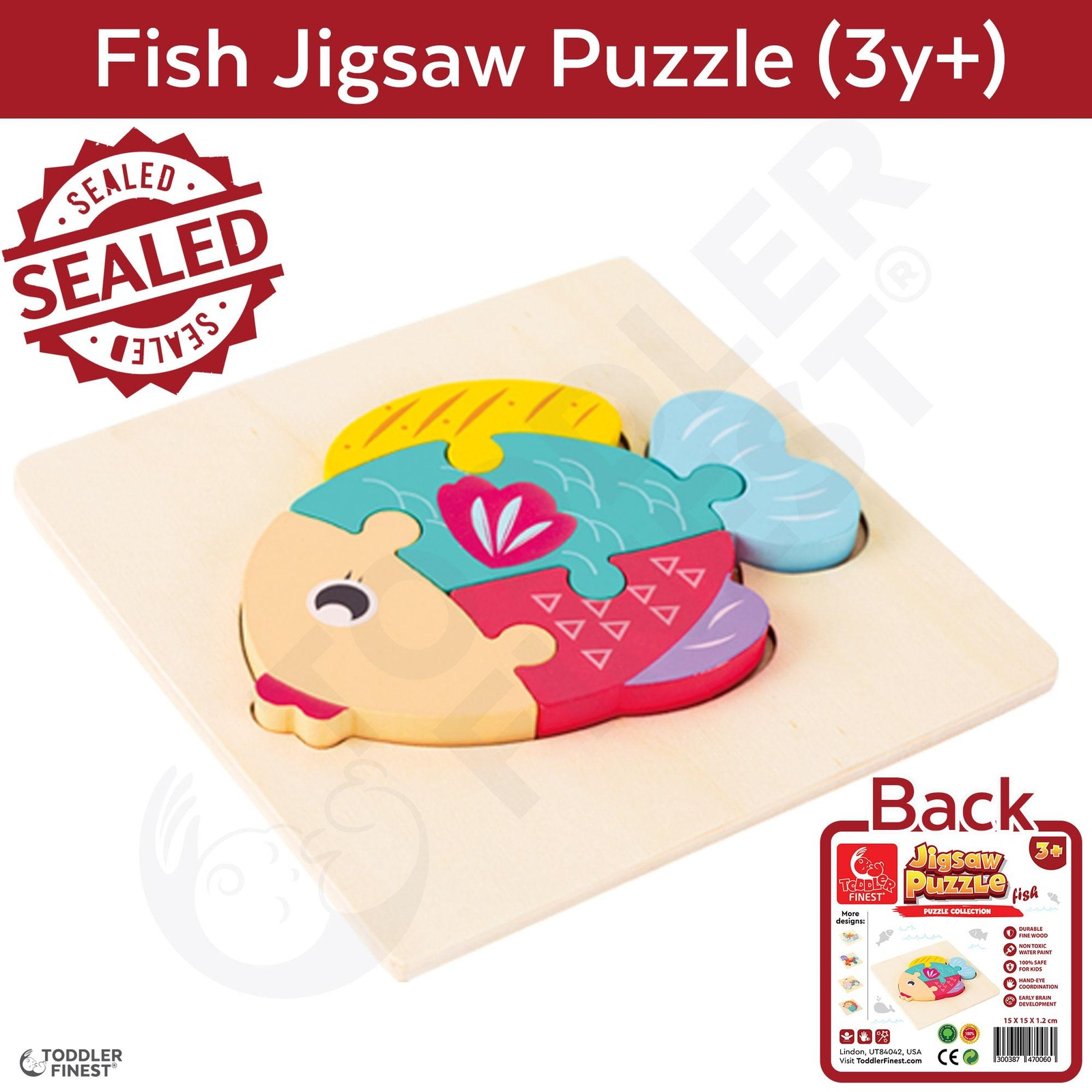 ToddlerFinest 3D Wooden Kids Jigsaw Puzzle Toys (Fish)