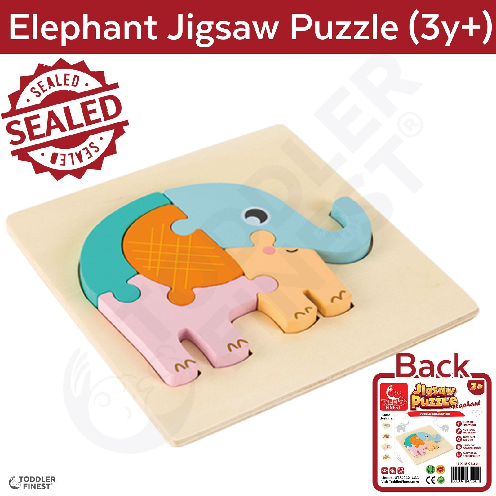 ToddlerFinest 3D Wooden Kids Jigsaw Puzzle Toys (Elephant)