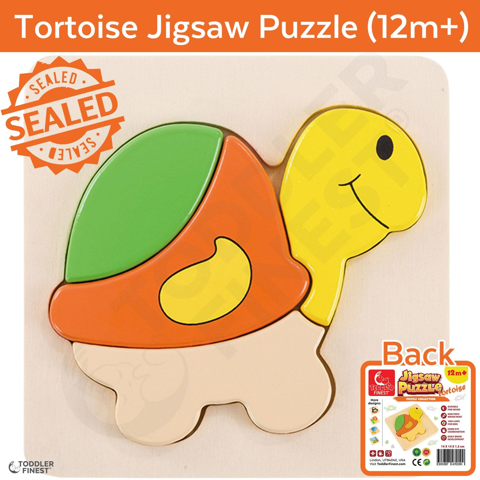 ToddlerFinest 3D Wooden Kids Jigsaw Puzzle Toys (Tortoise)