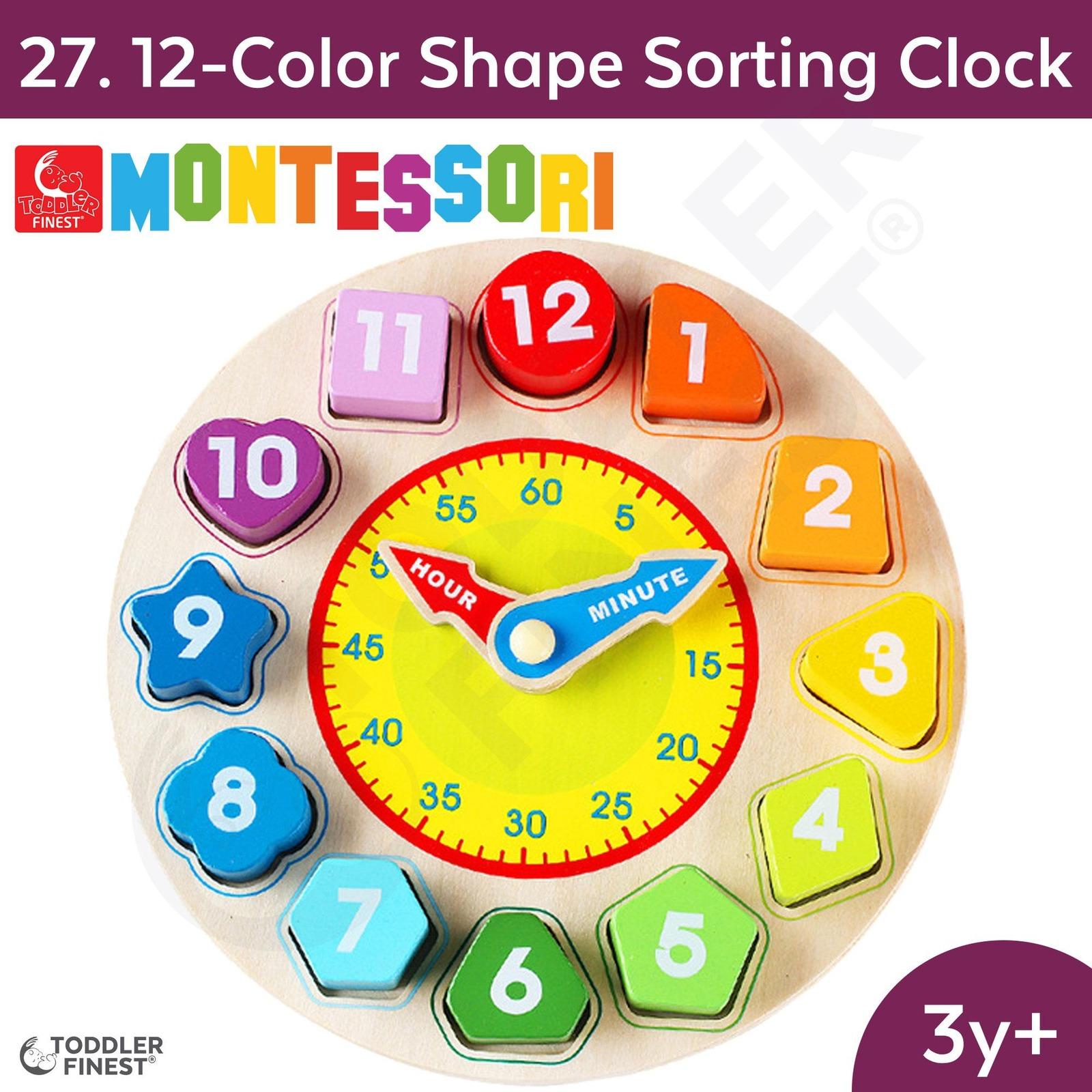 ToddlerFinest 12-Color Shape Clock Montessori Kids Toy