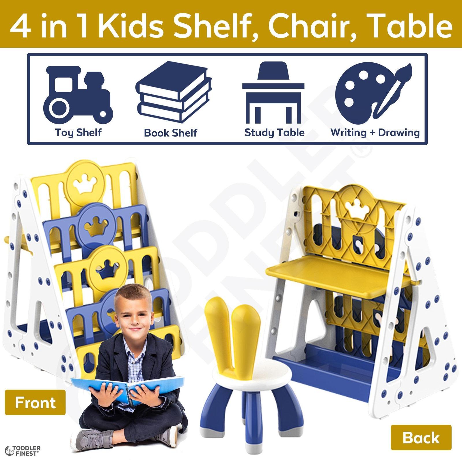ToddlerFinest 4 in 1 Kids Toy Storage Bookshelf Chair Table